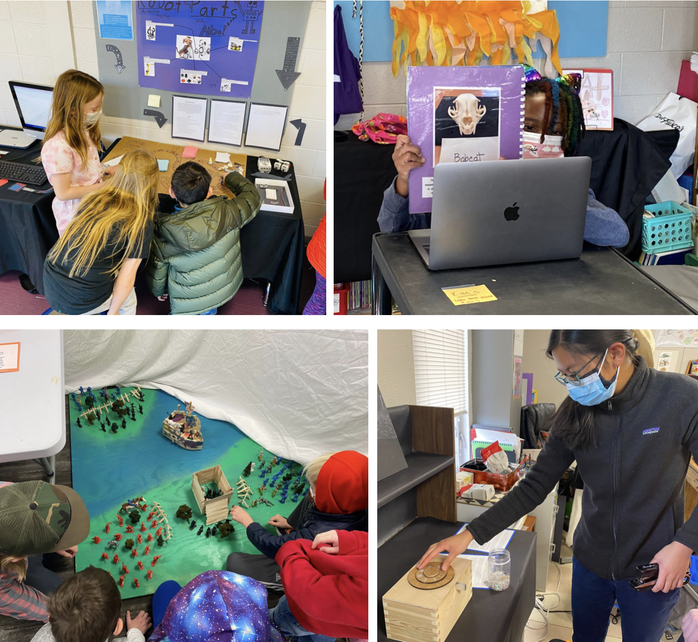 Students at their EXPO displays.