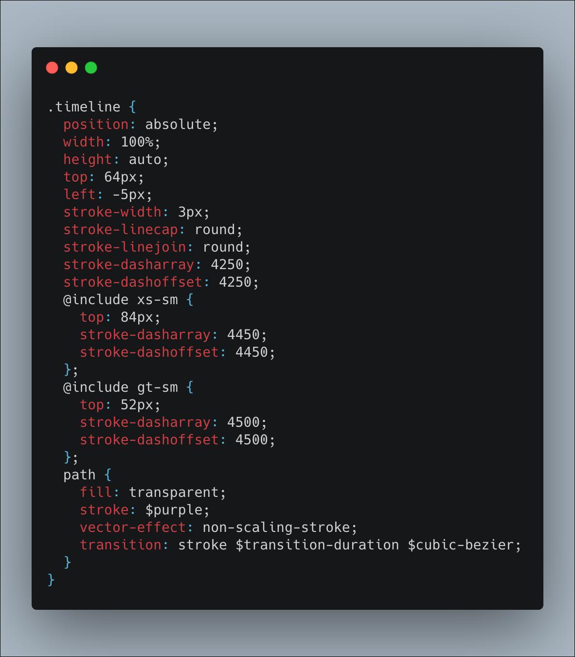 Responsive SVG SCSS code