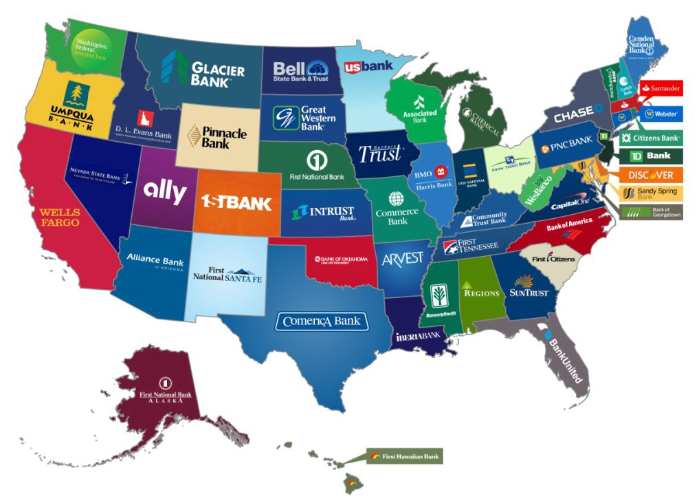 Map of most popular bank by state in USA