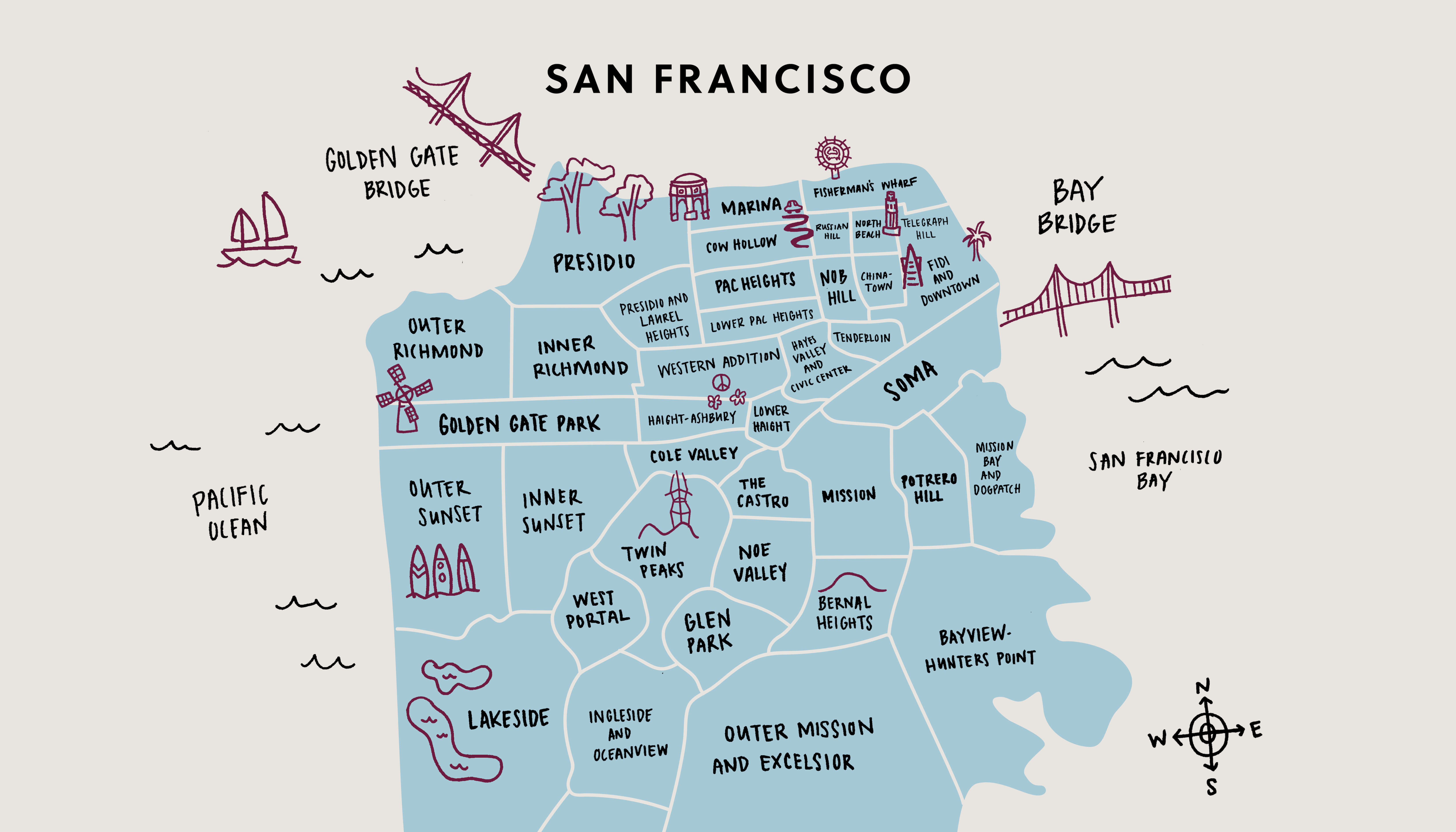 Faros sf neighborhoods illustration