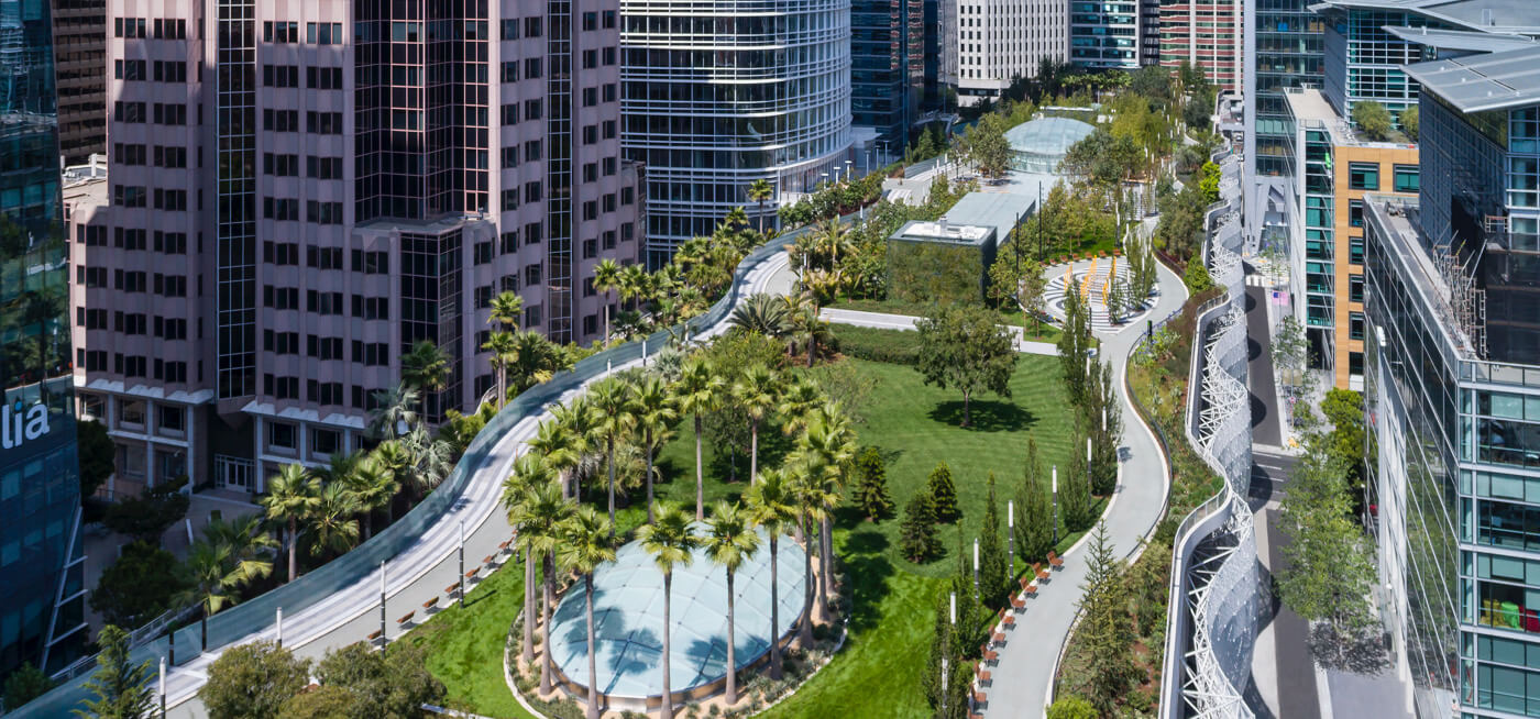 Aerial view of Salesforce Park in Financial District