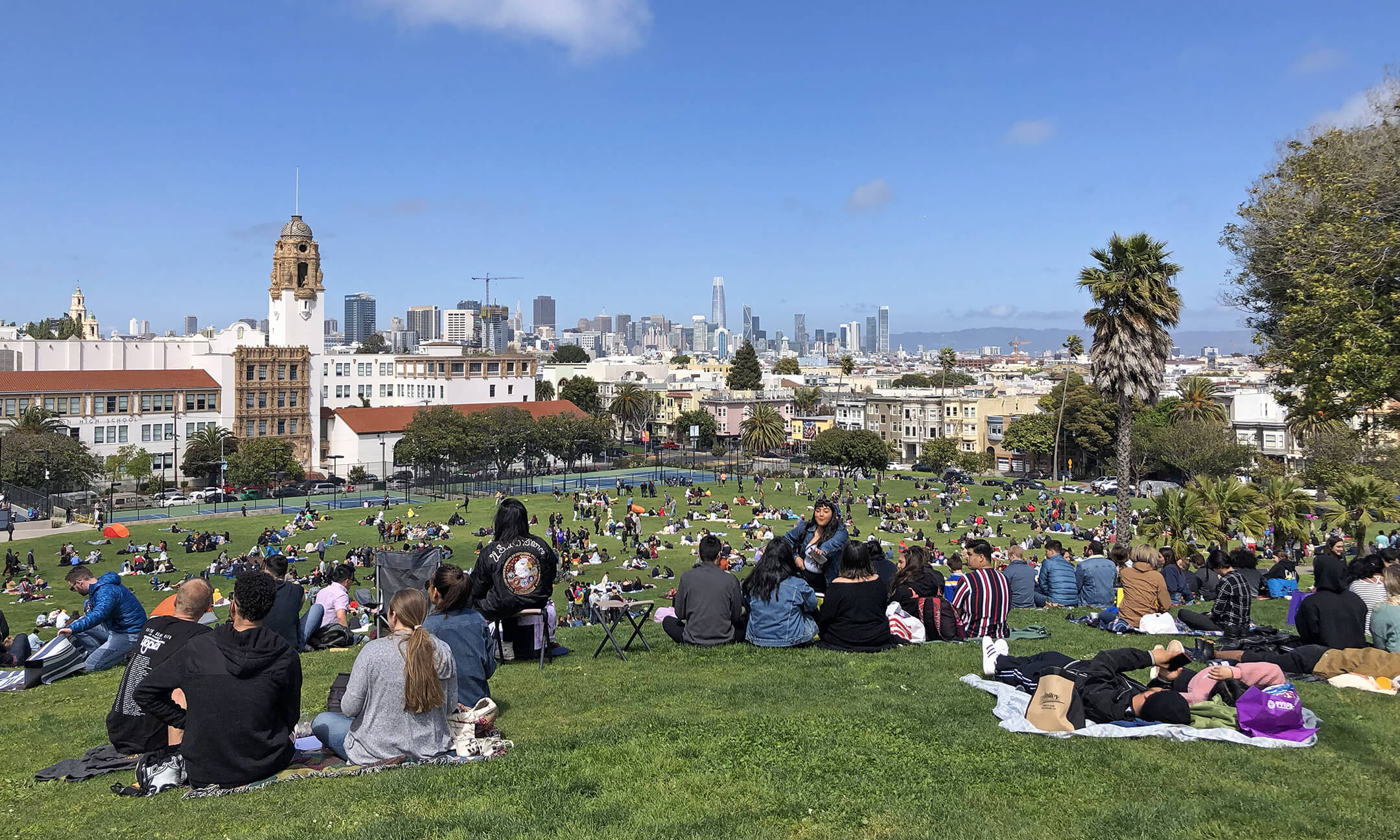 Dolores Park in The Mission looking over downtown San Francisco