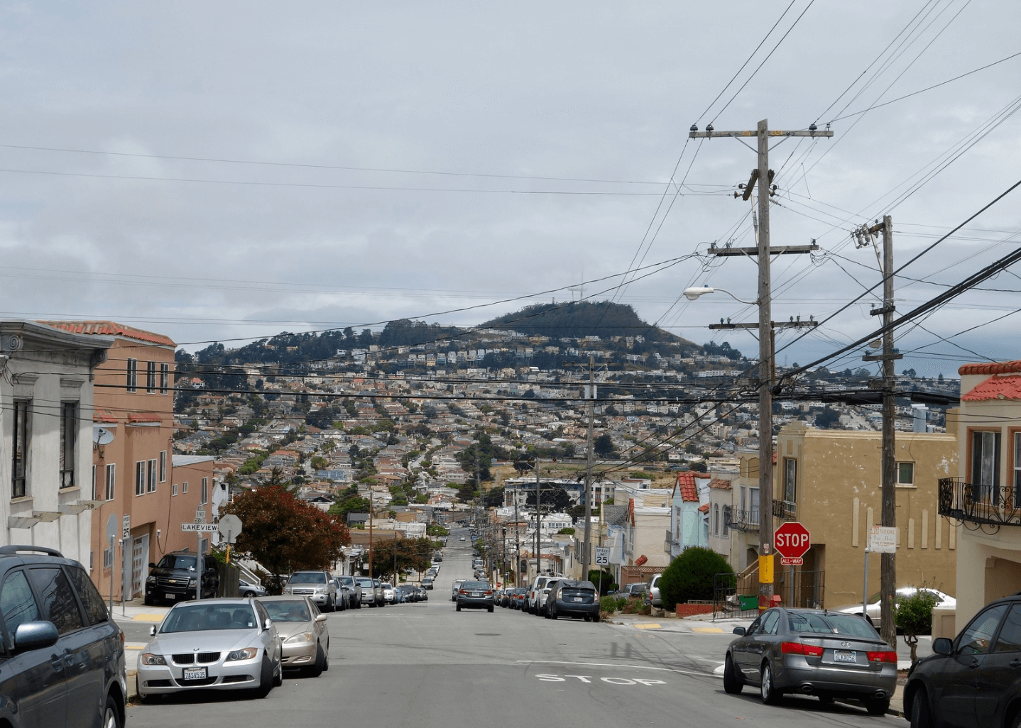 The view from Ingleside to Oceanview with Twin Peaks in the distance