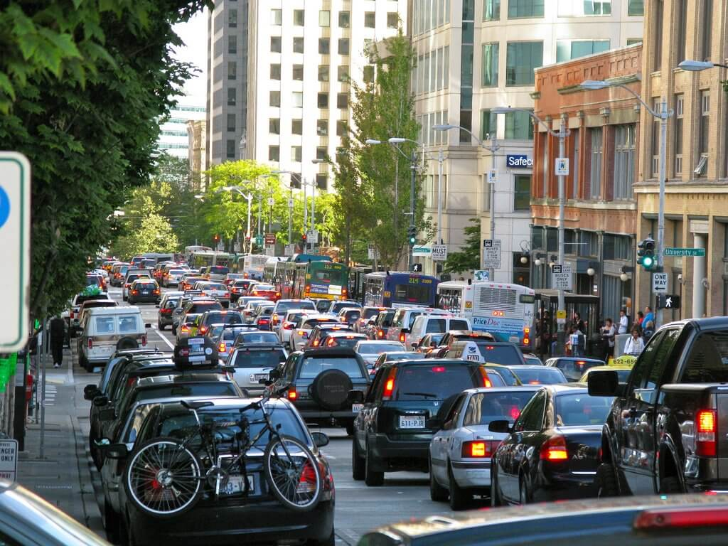 Bumper to bumper traffic sits on Seattle's 2nd St.