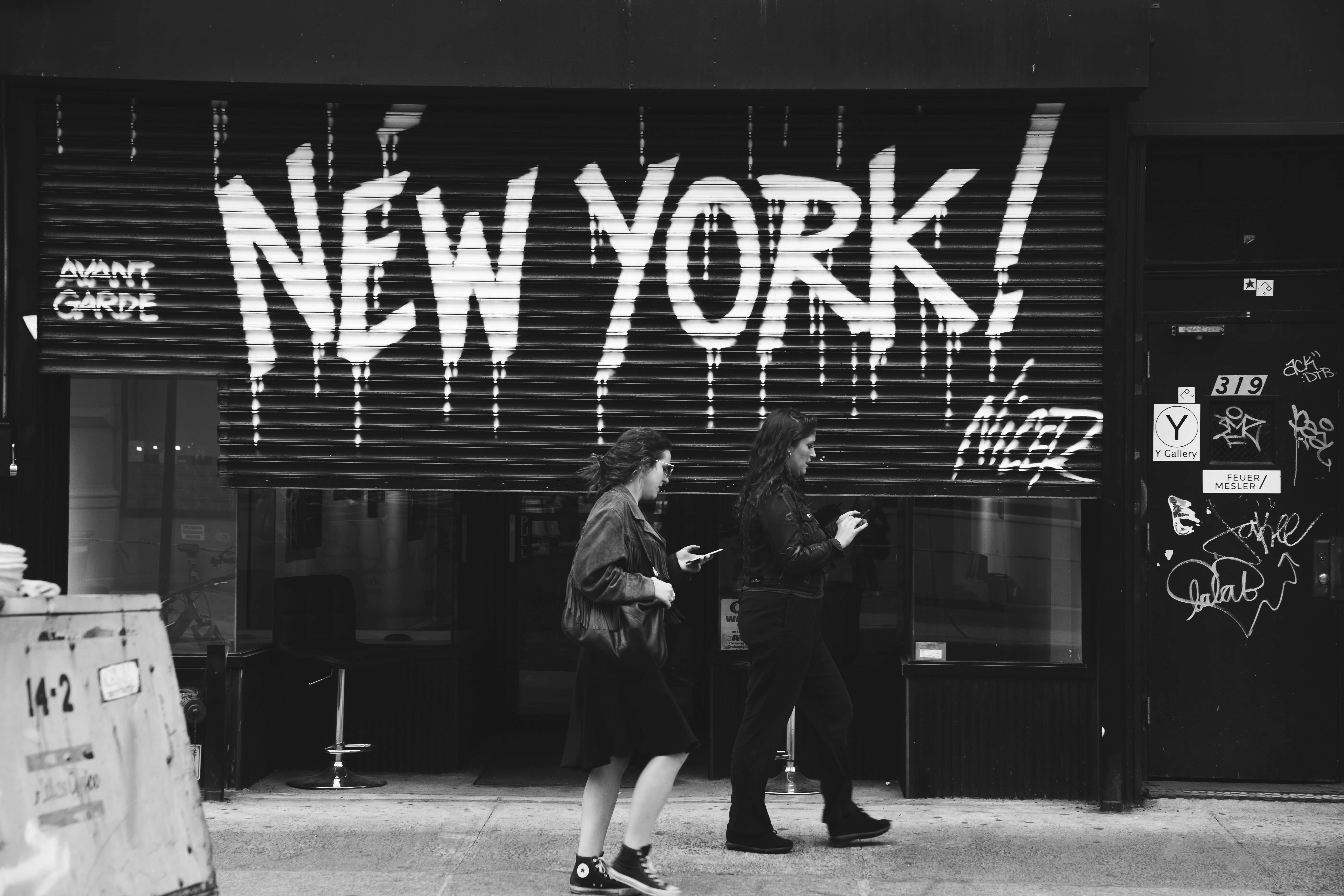 New York City black and white street art