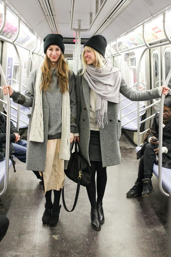 Fashionable women in the NYC subway