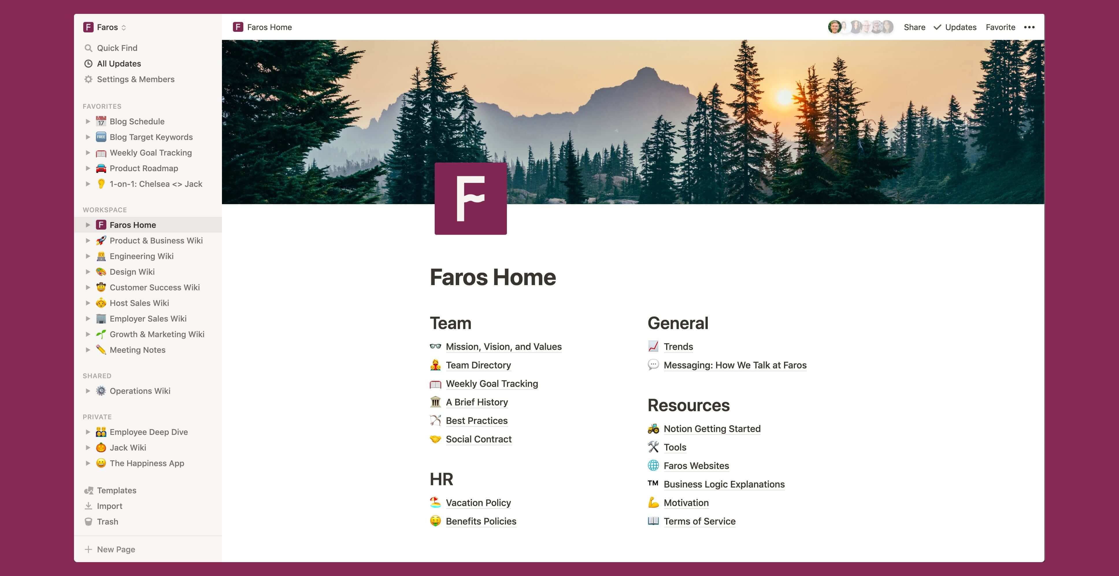 Faros home wiki Notion template