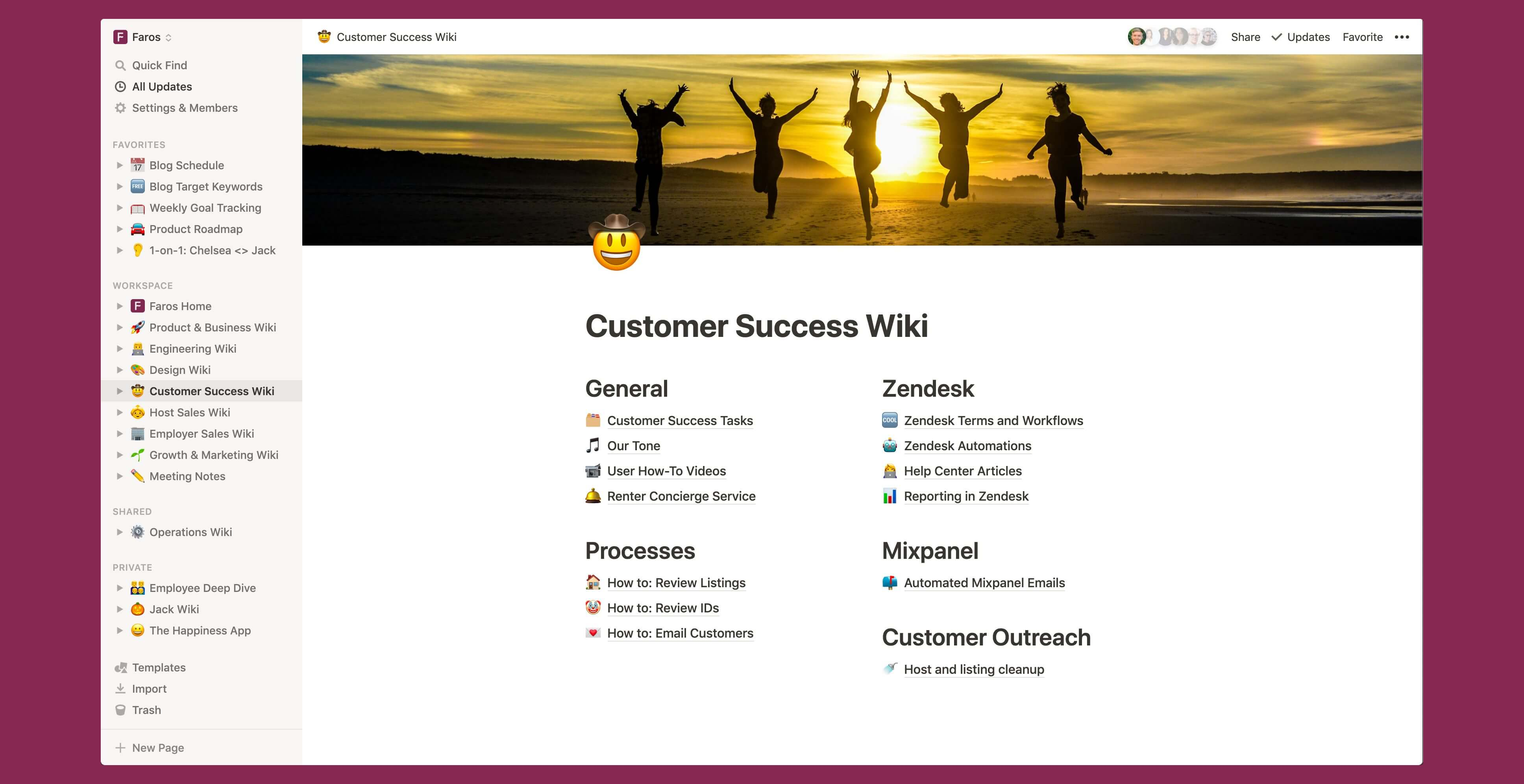 Faros Customer success wiki Notion template