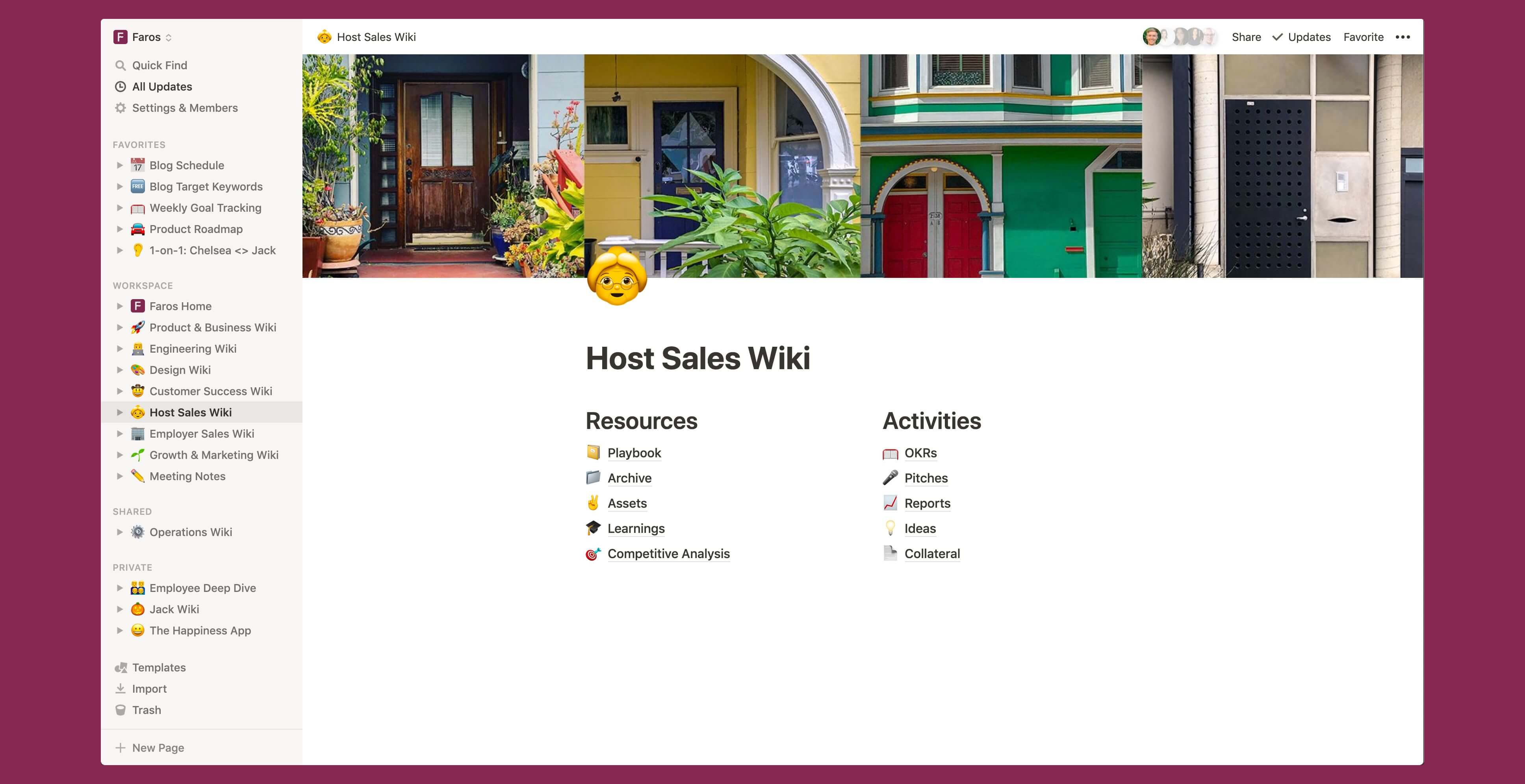 Faros sales wiki Notion template