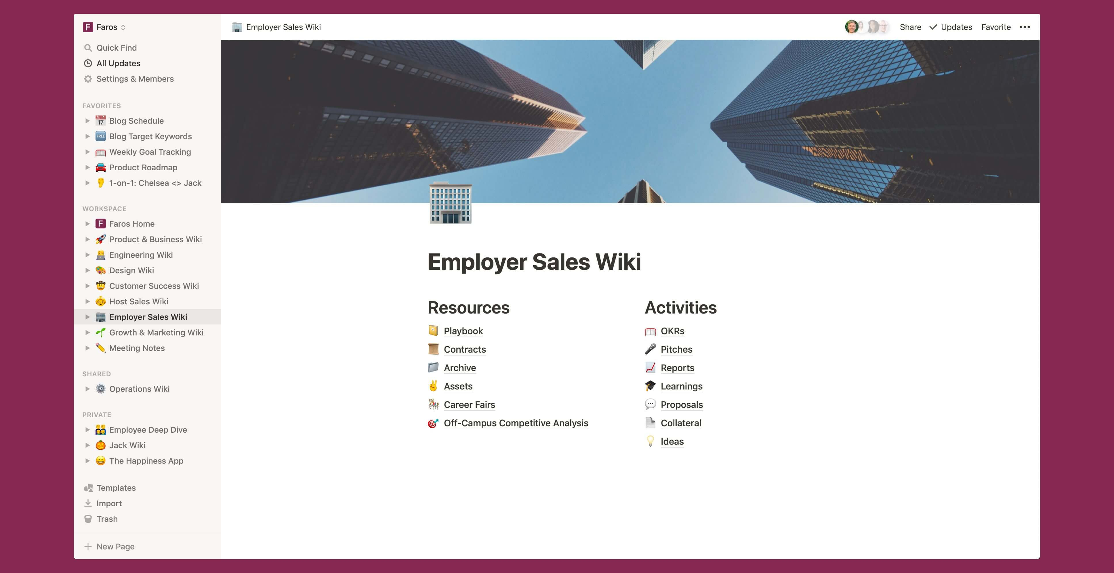 Faros B2B sales wiki Notion template