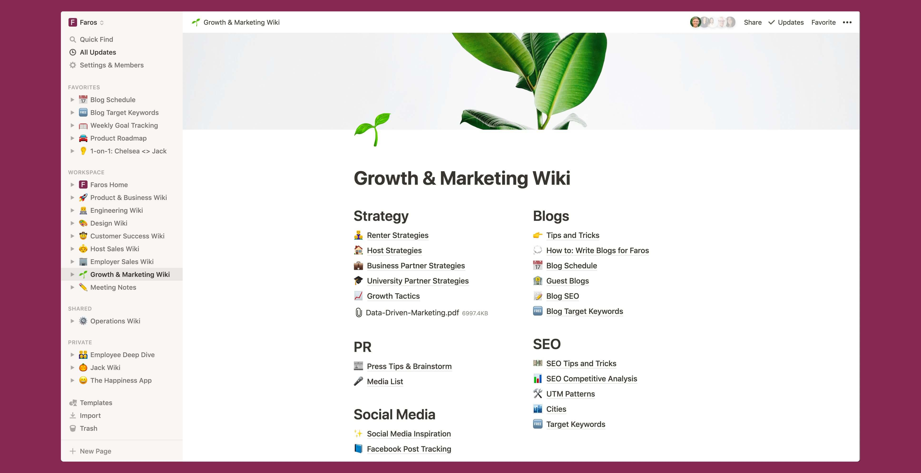 Faros marketing wiki Notion template