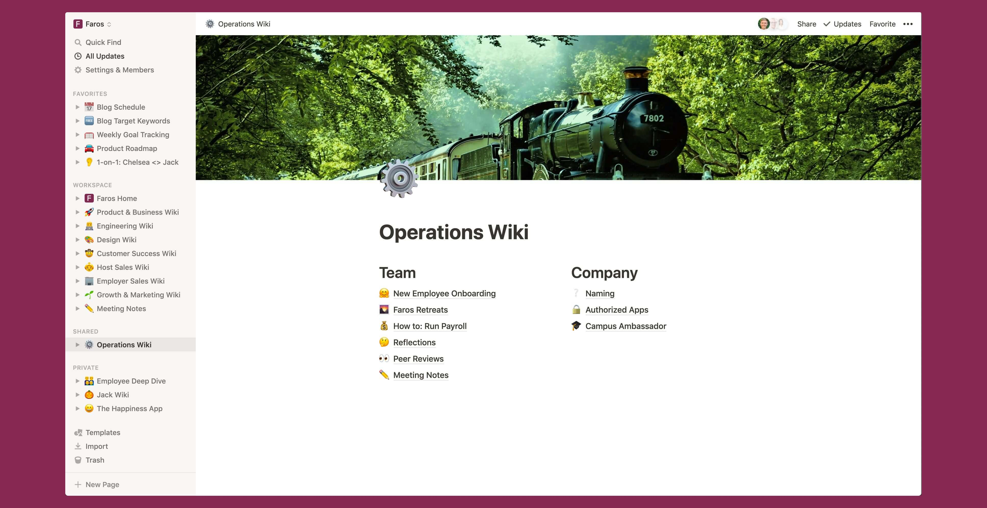 Faros operations wiki Notion template