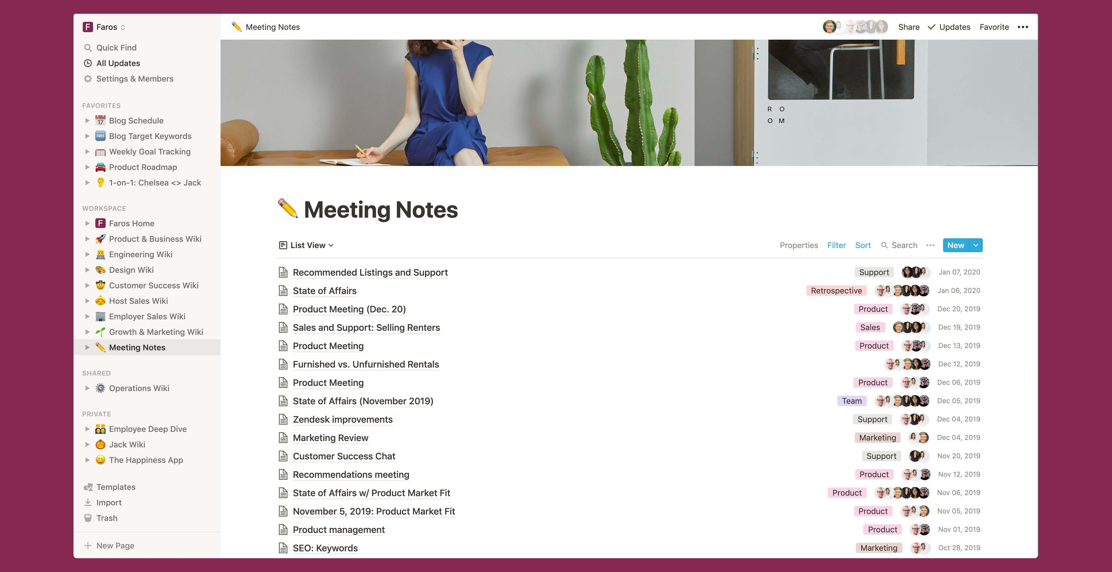 Faros meeting notes Notion template