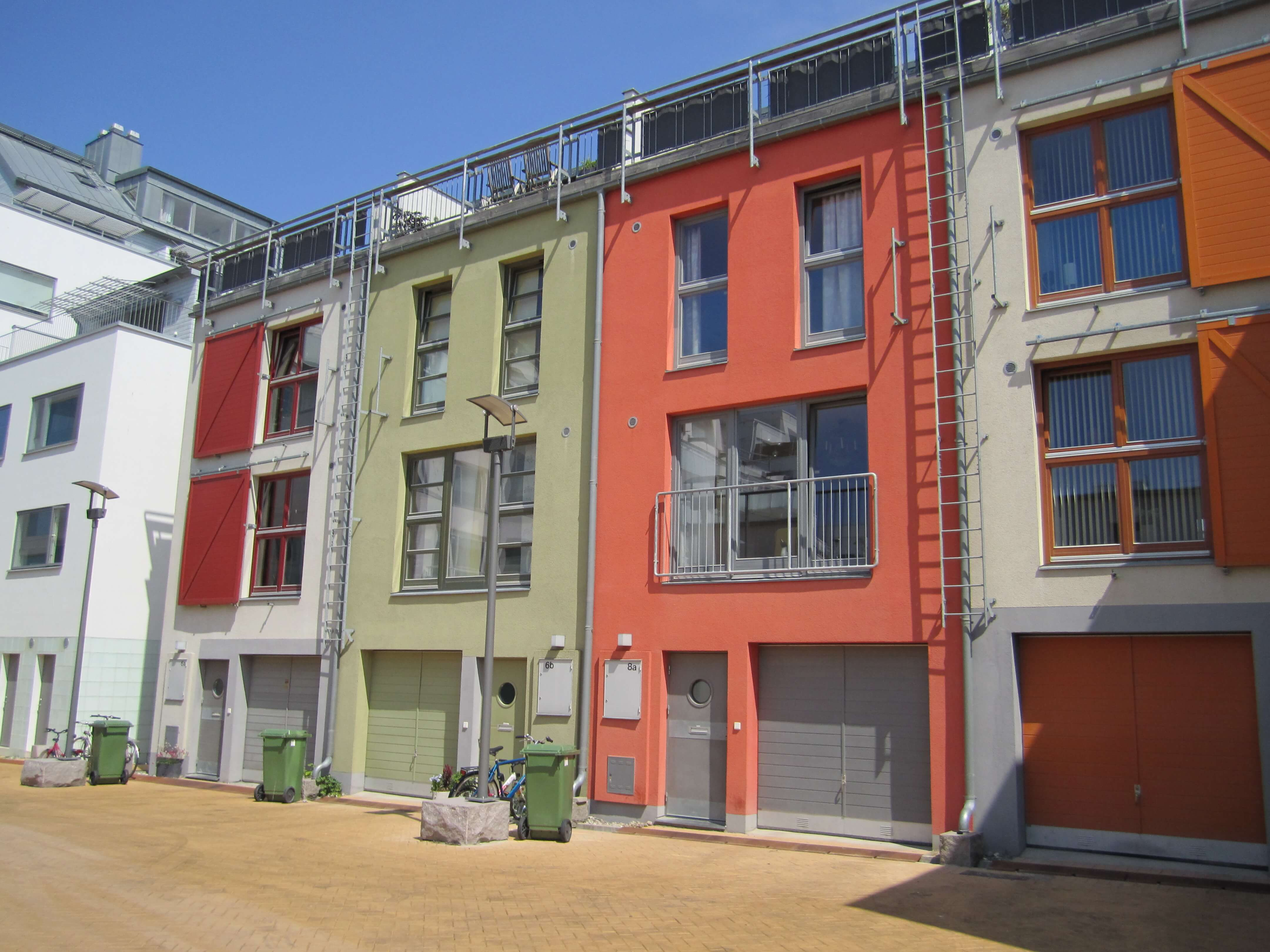 Connected colorful townhomes
