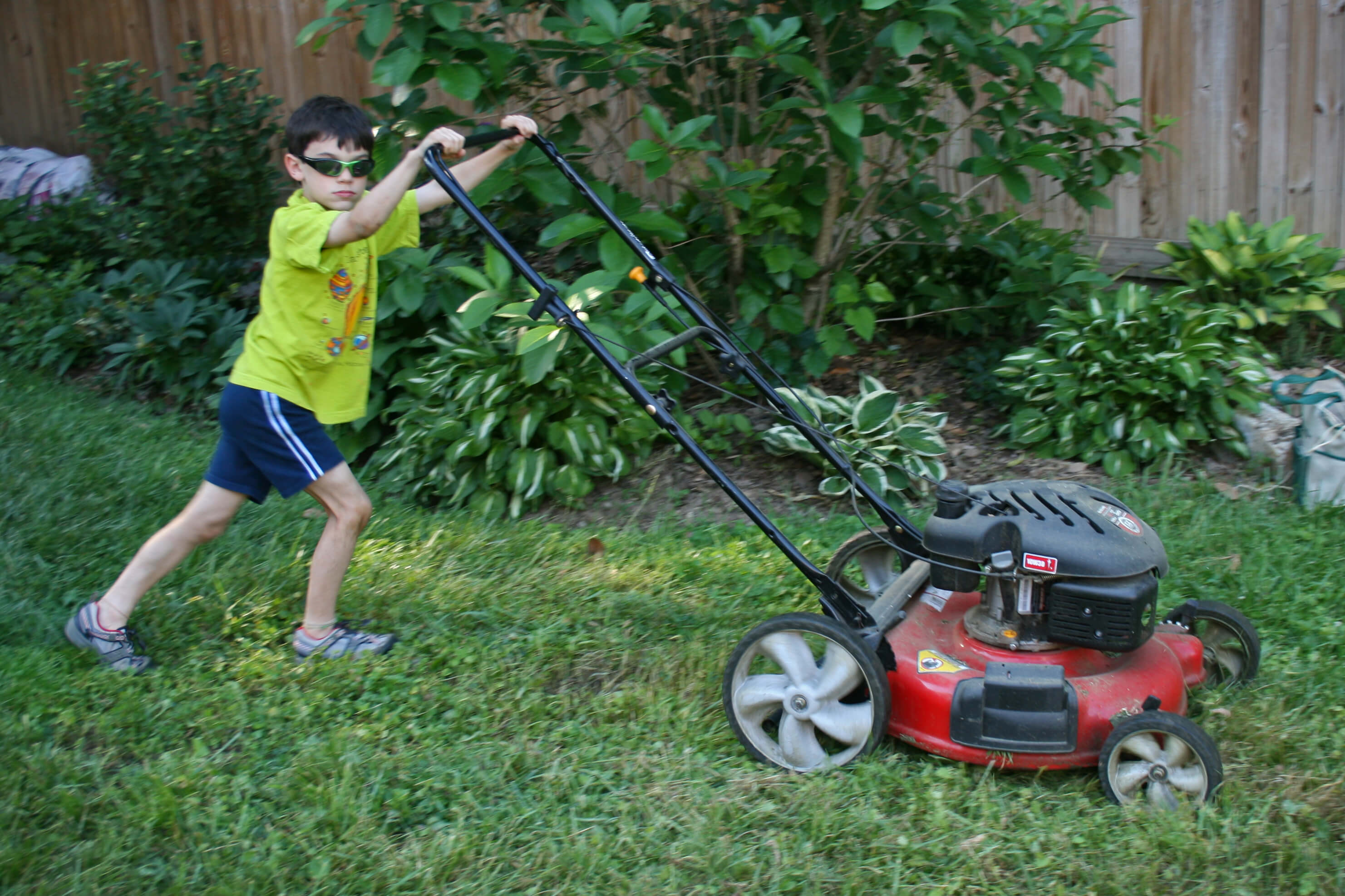 Child moving the lawn