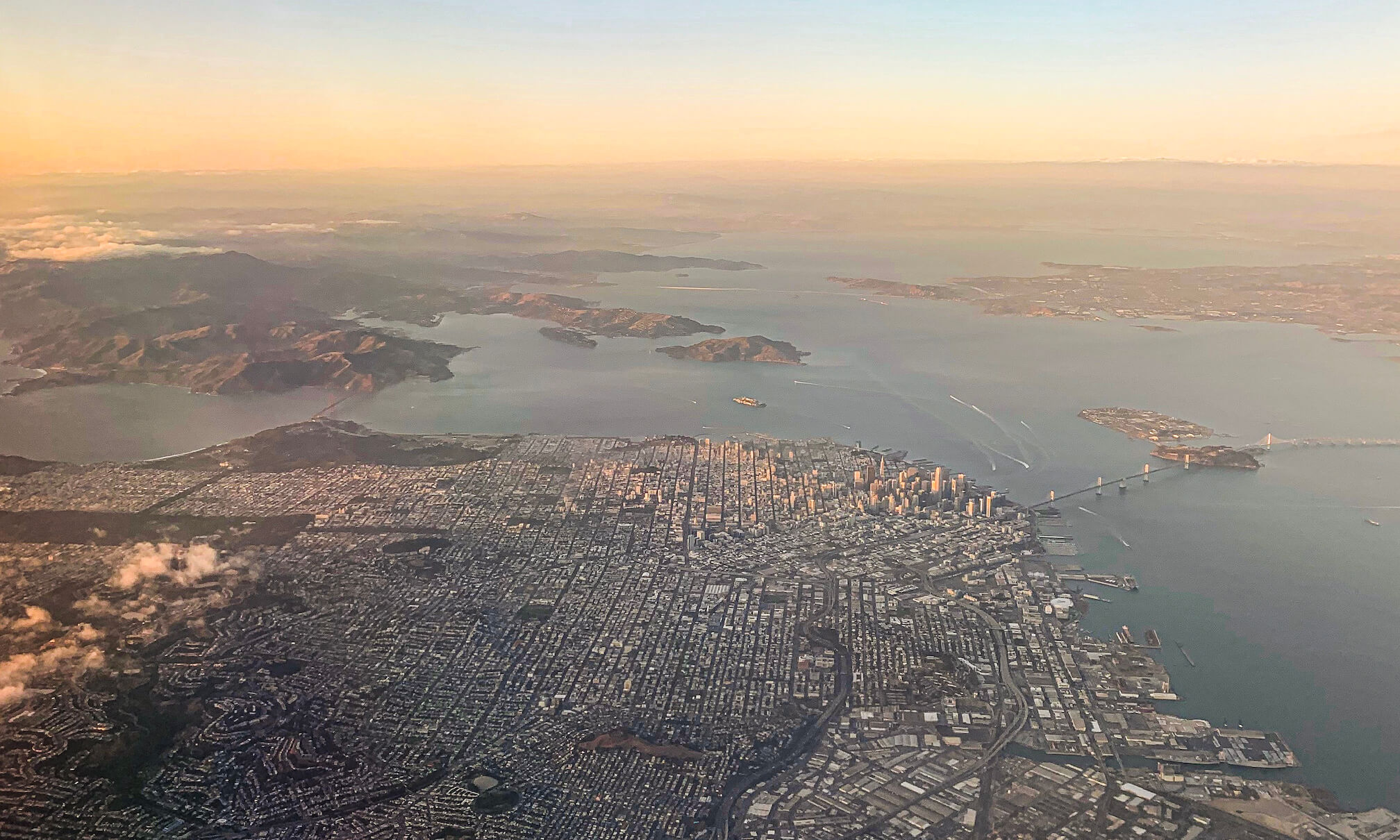 Courtney Sabo aerial shot of San Francisco from a plane