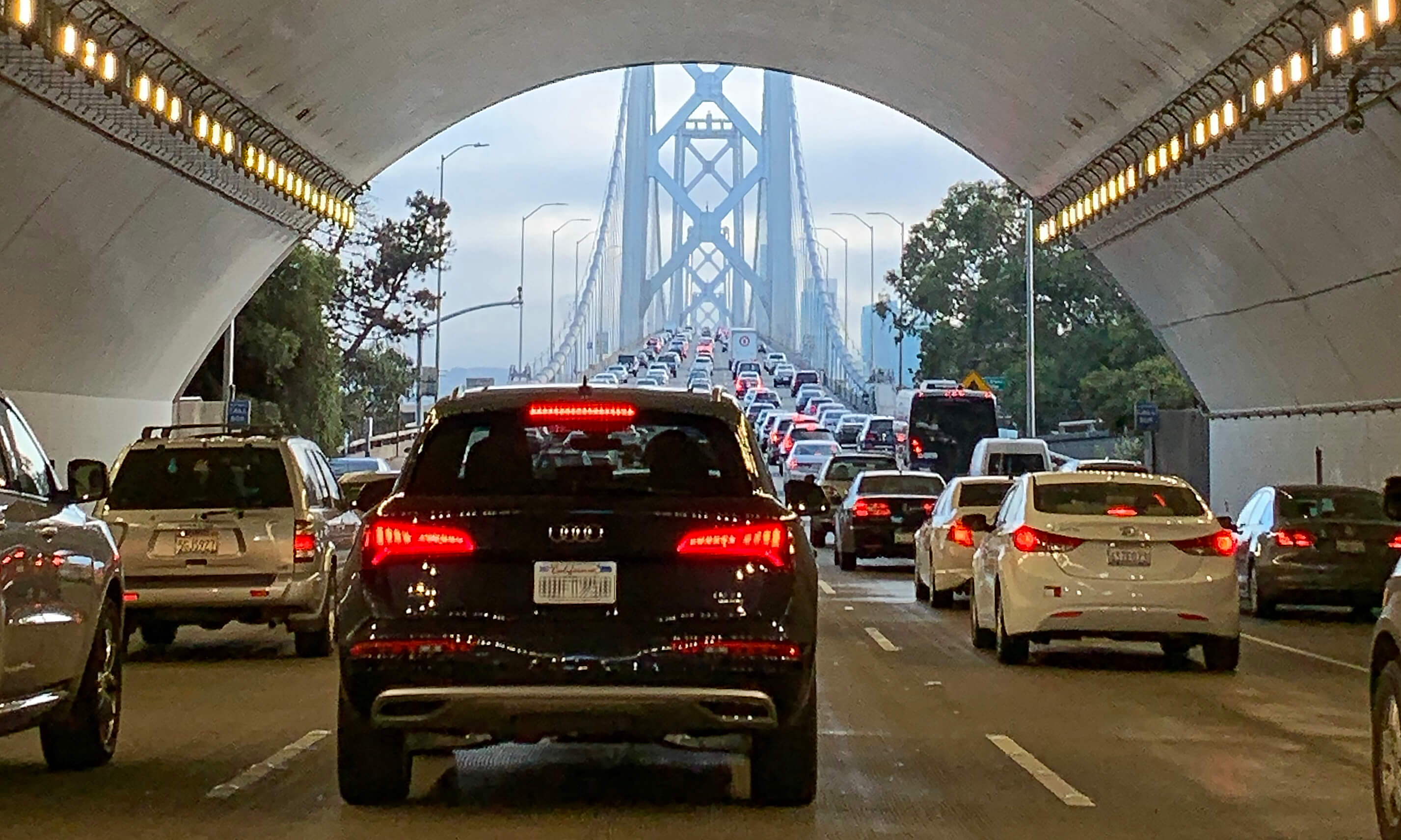 Driving through the Treasure Island tunnel on the Bay Bridge