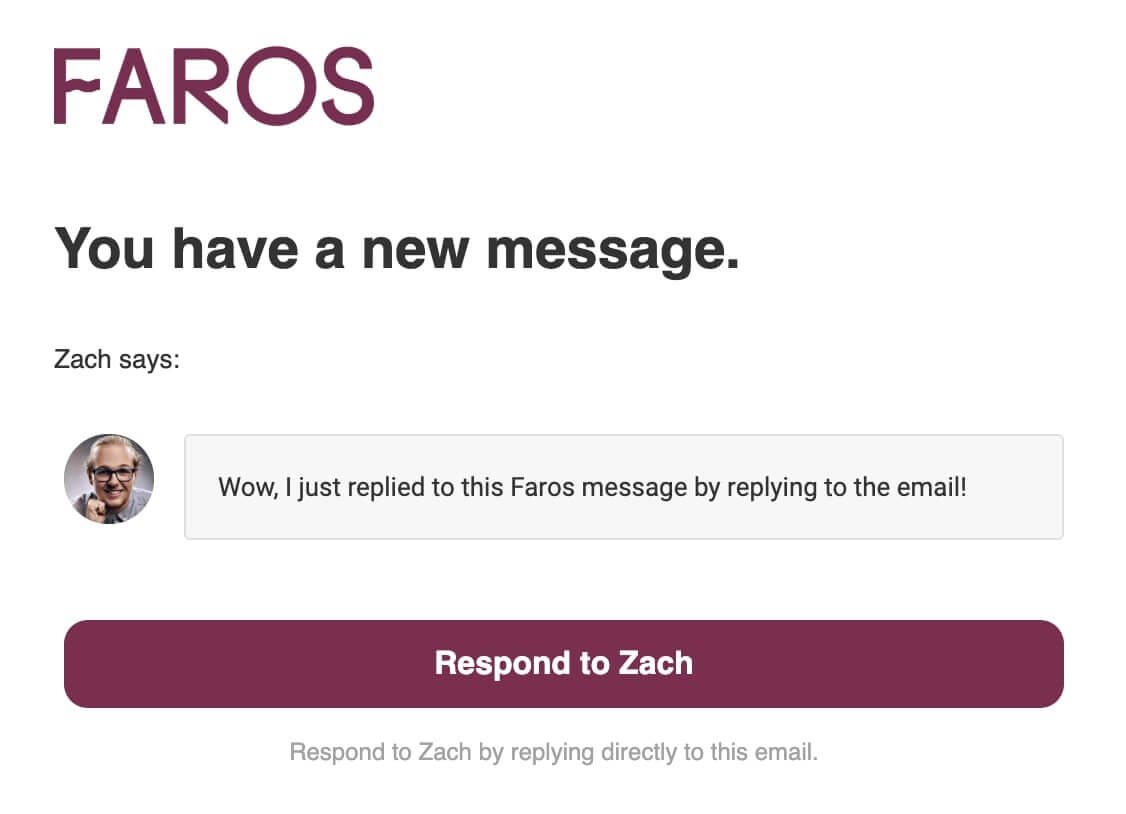 Example Faros email notification for a new message