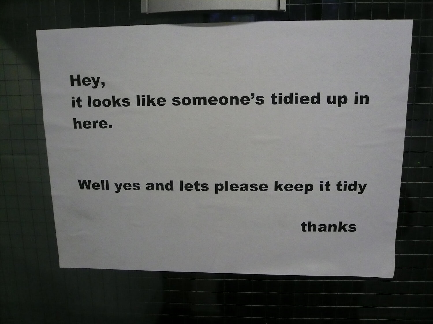 Bad roommate leaving passive aggressive note