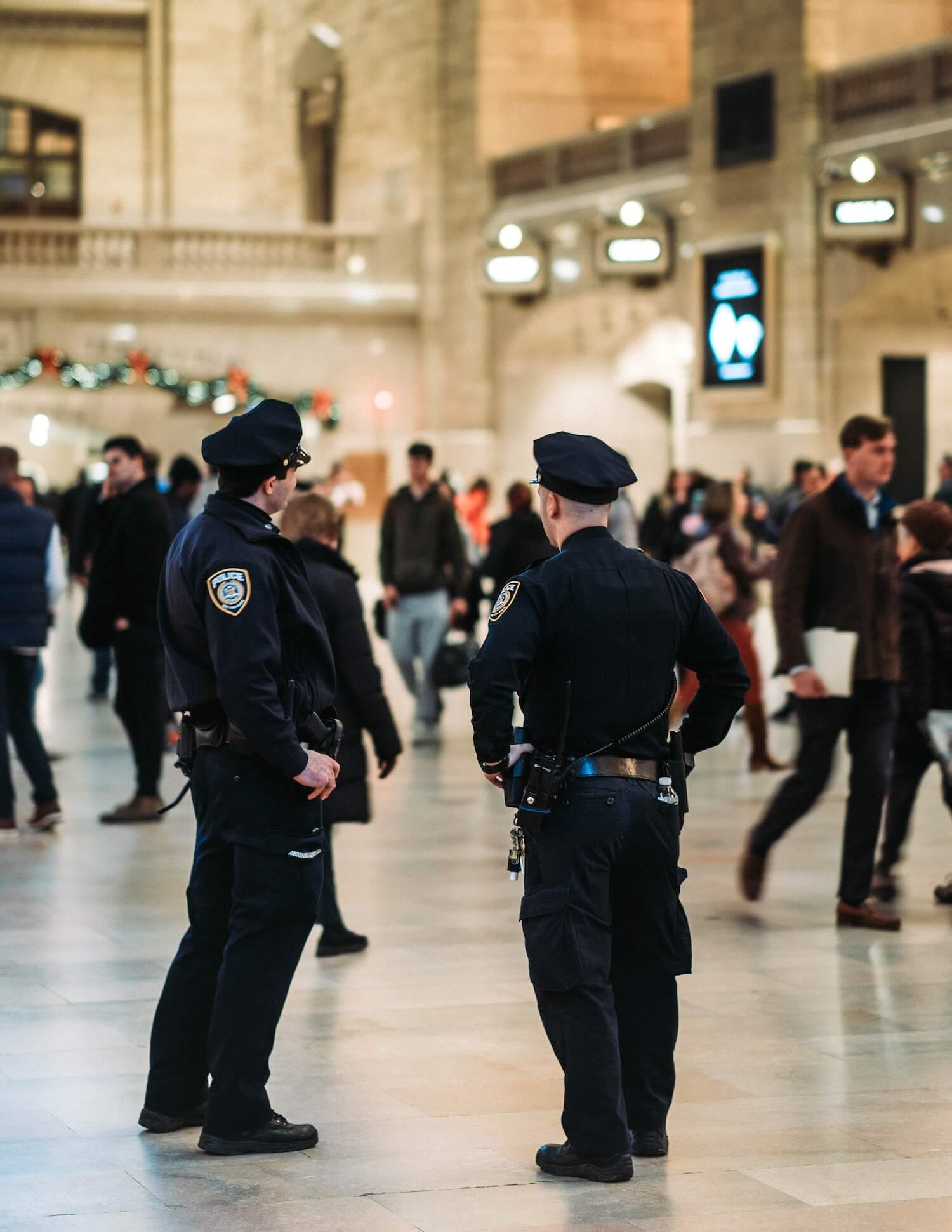 Police standing in Grand Central Station