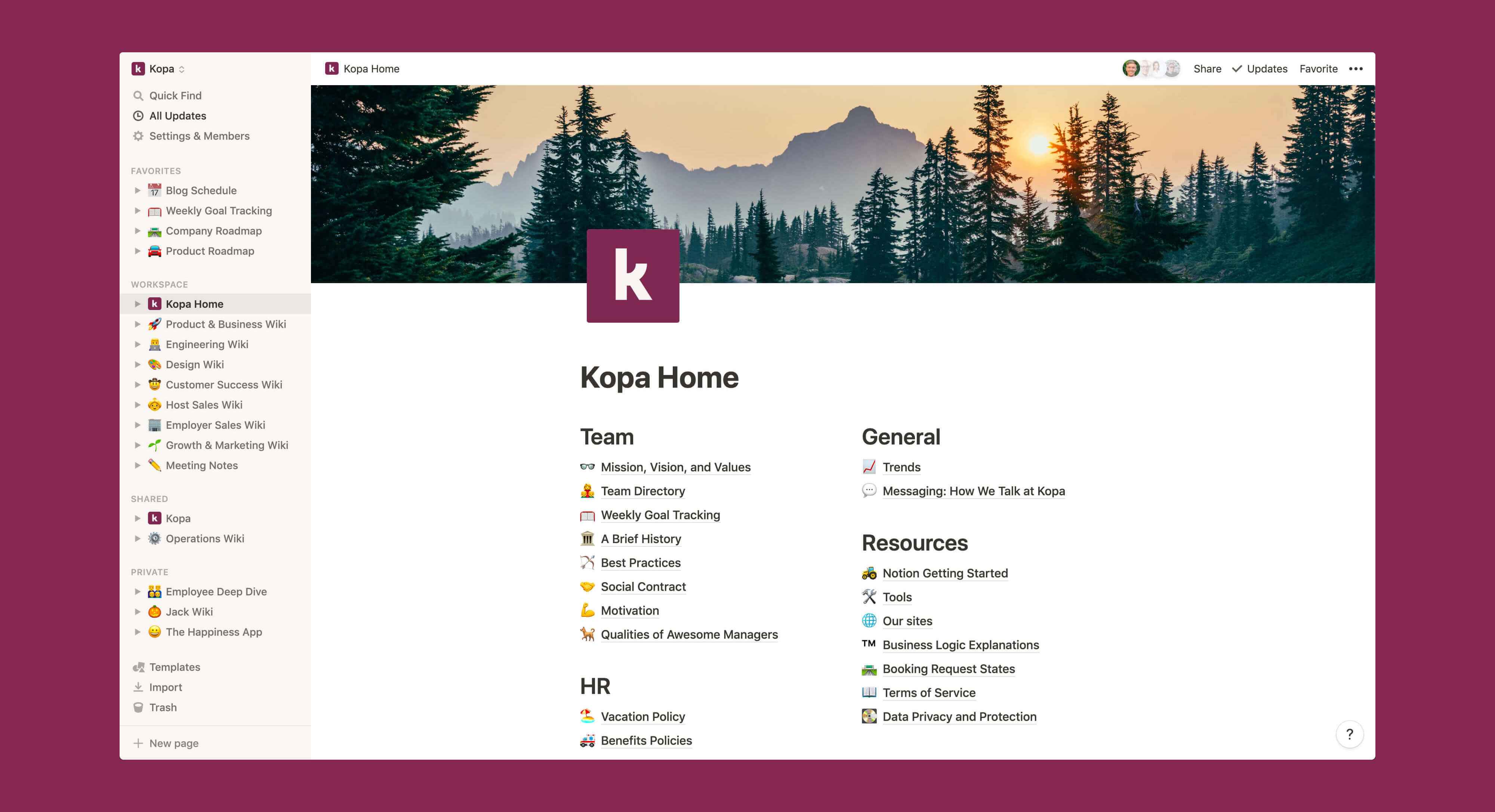 Kopa home wiki Notion template