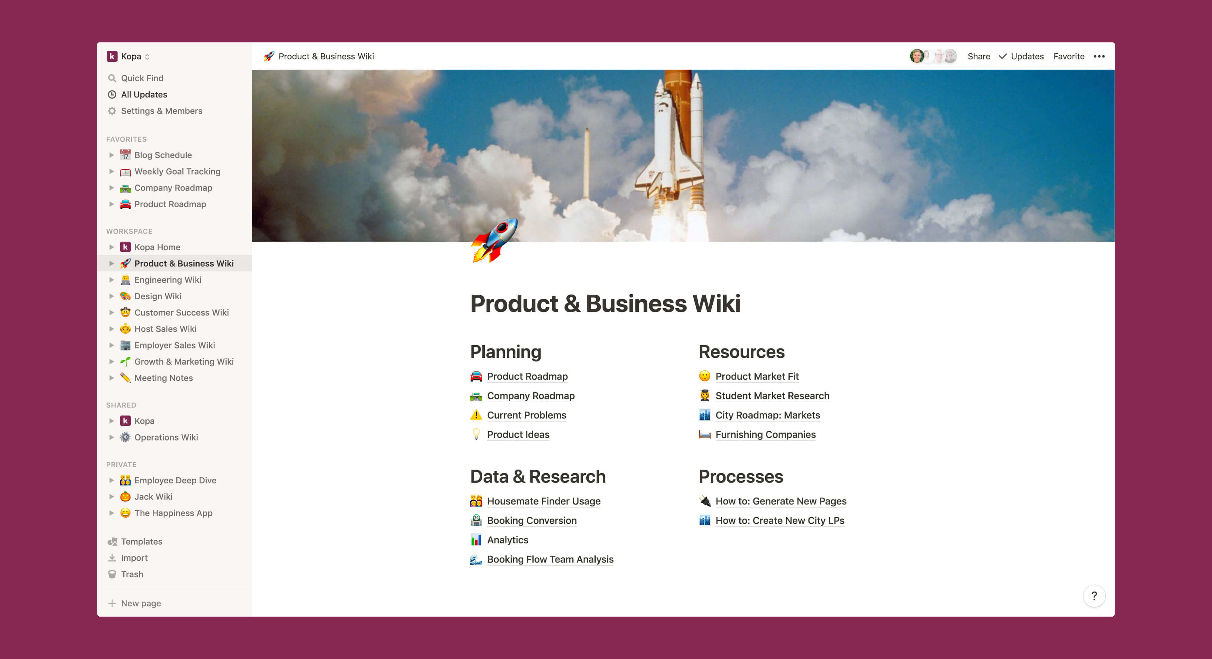 Kopa product and business wiki Notion template