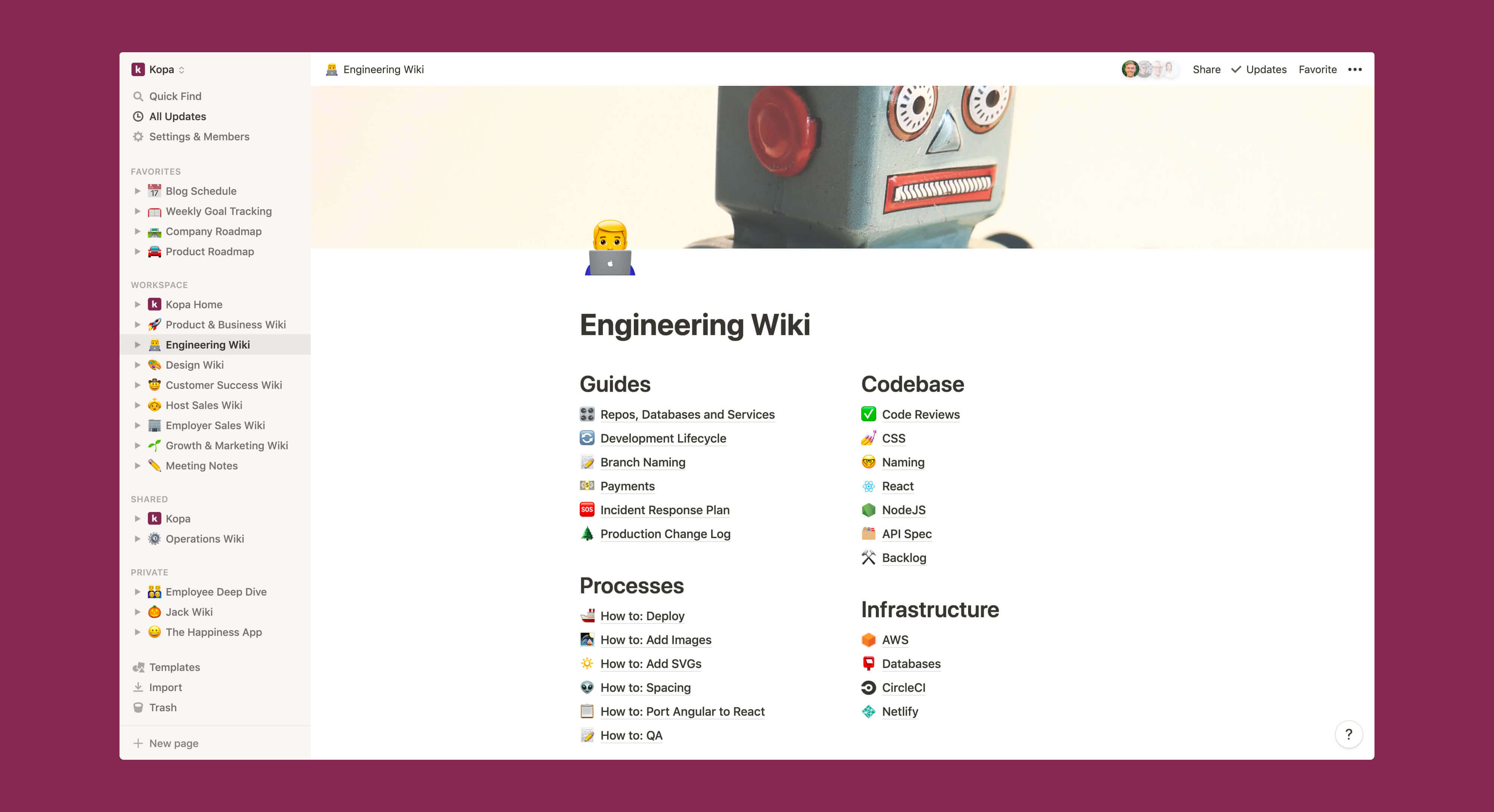 Kopa engineering wiki Notion template