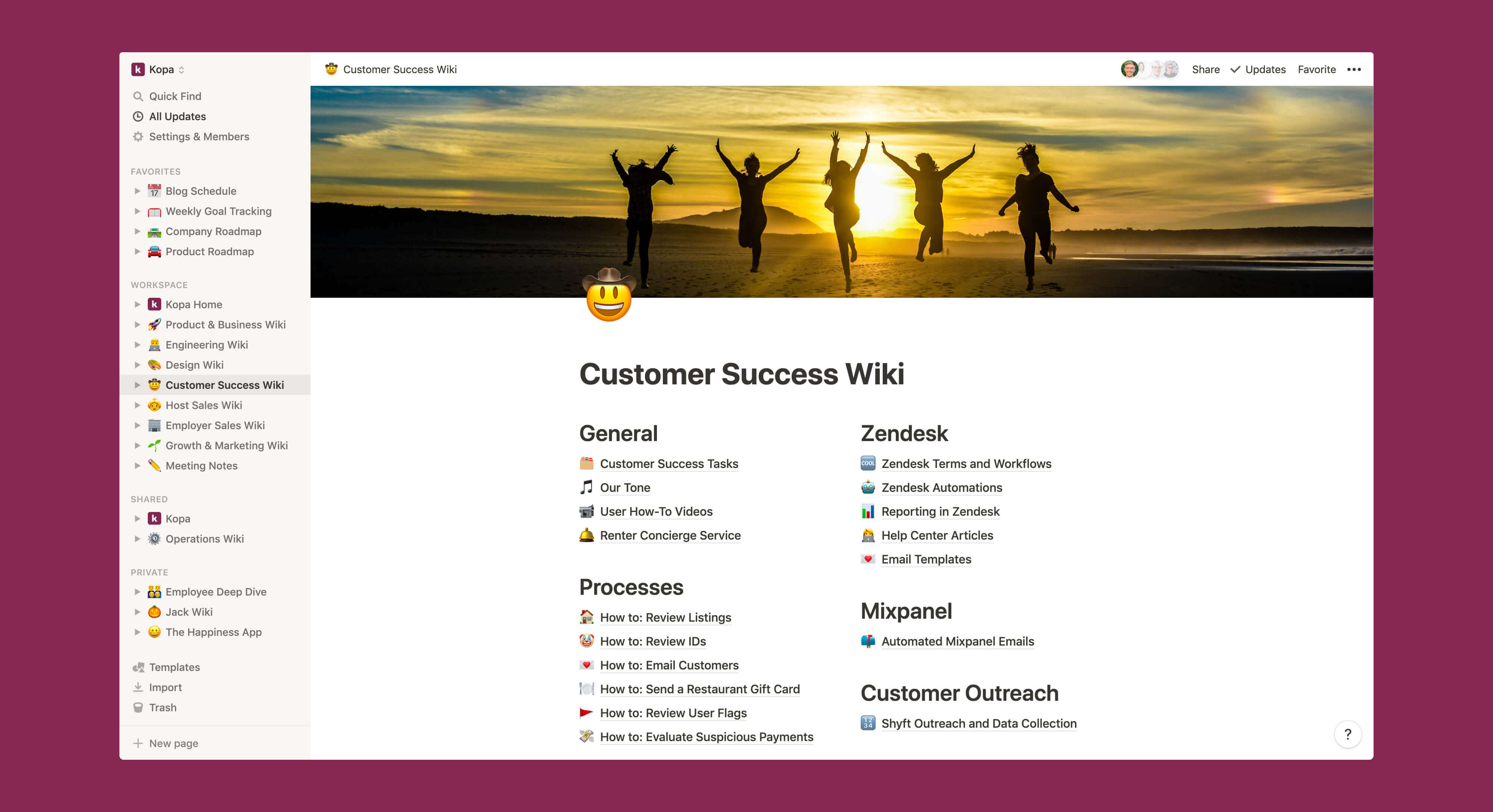 Kopa customer success wiki Notion template