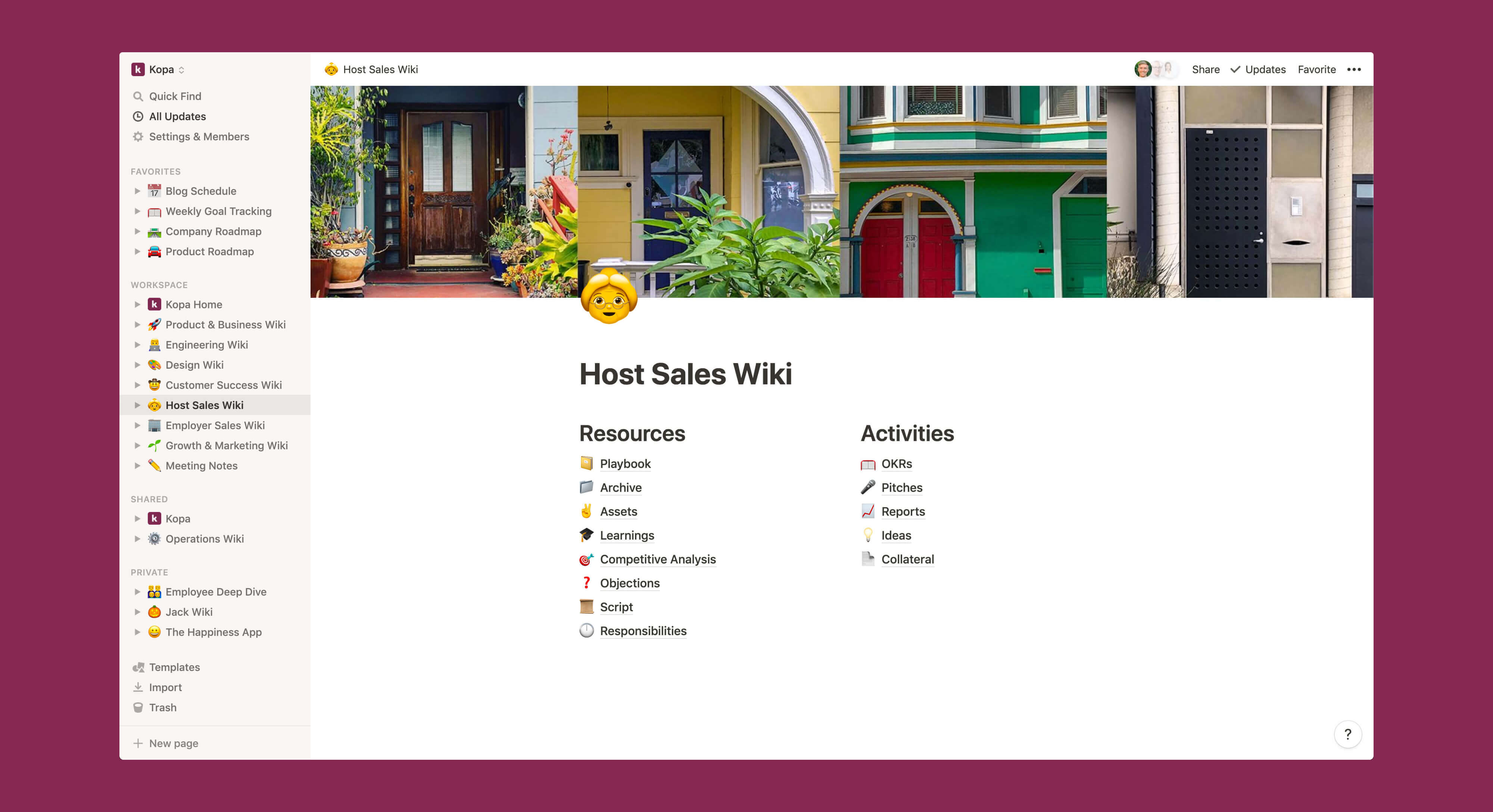 Kopa host sales wiki Notion template