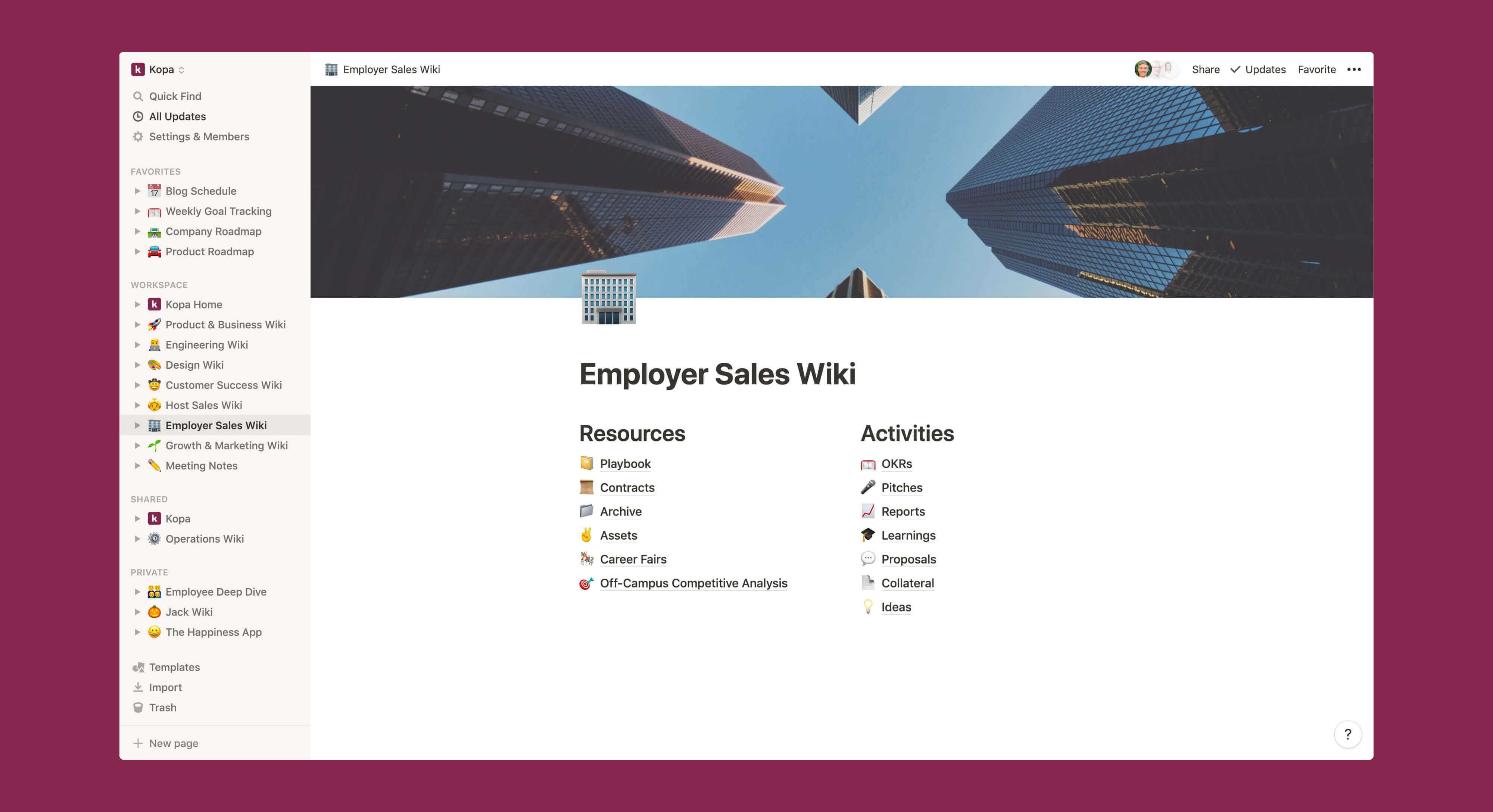 Kopa B2B Sales wiki Notion template