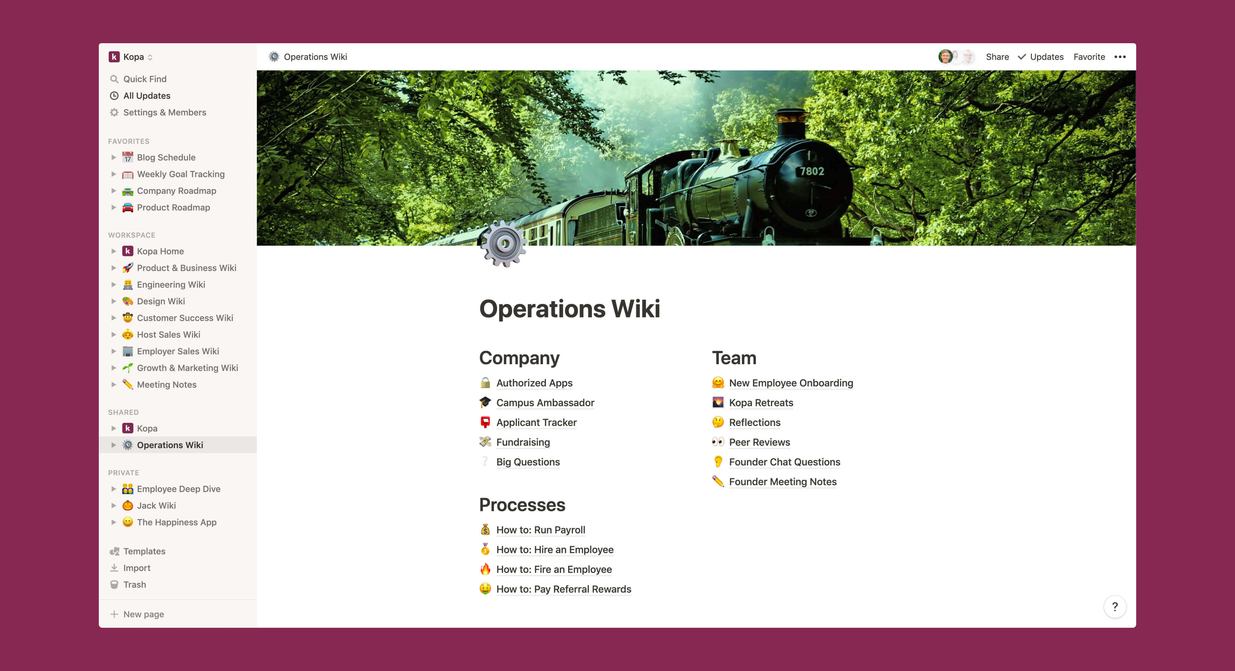 Kopa operations wiki Notion template