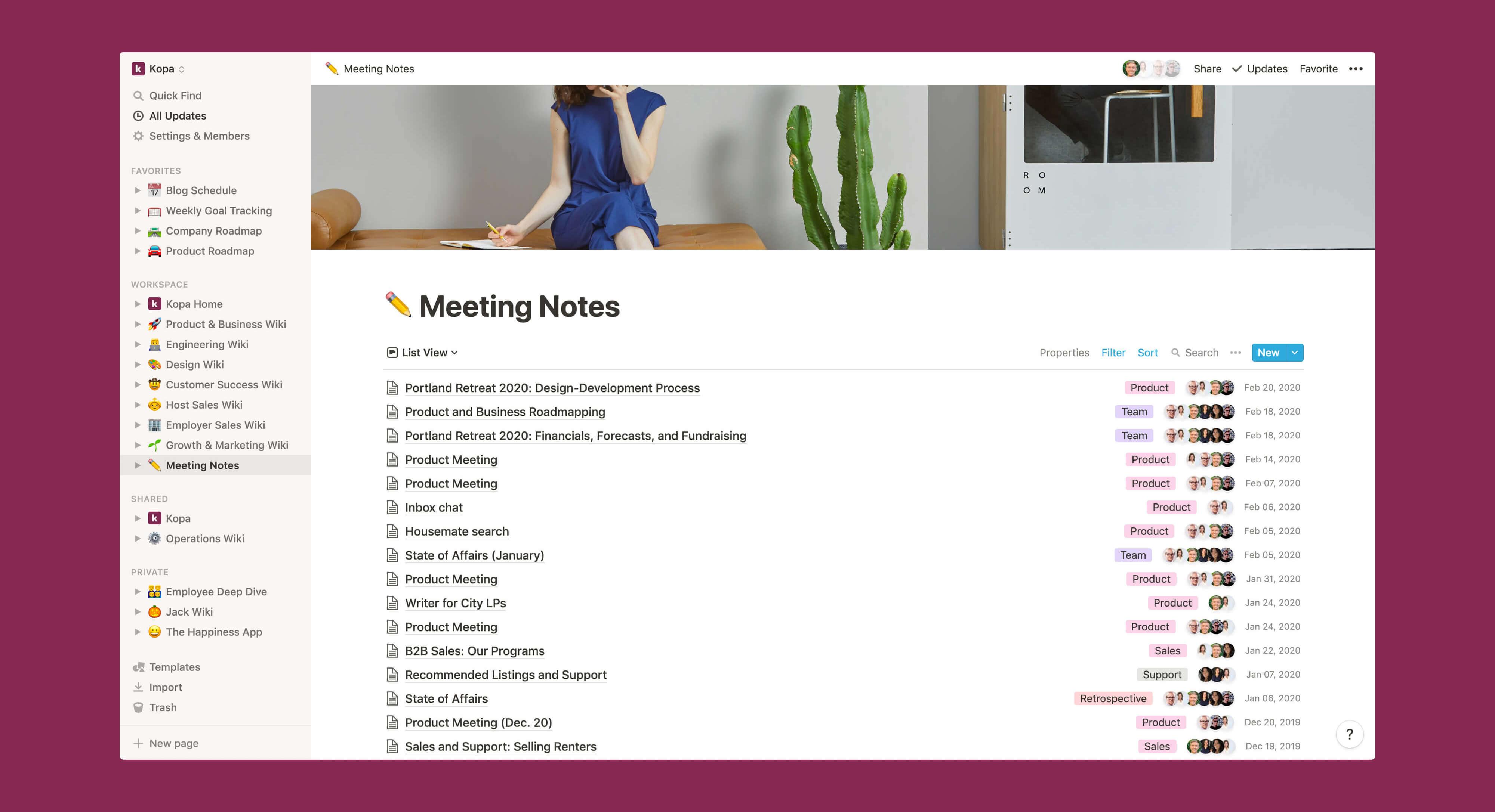 Kopa meeting notes wiki Notion template
