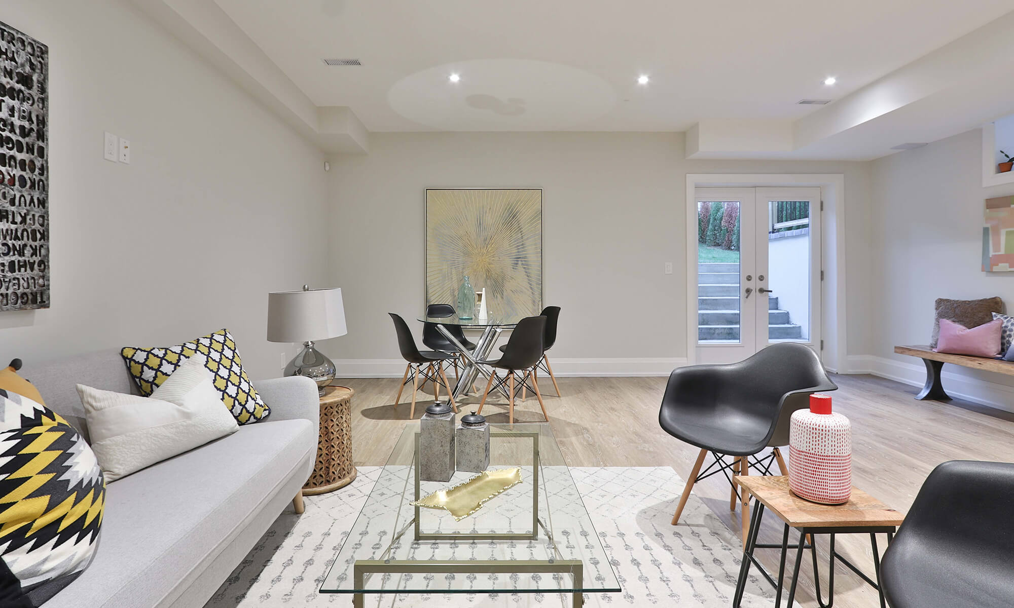 living and dining room with furniture