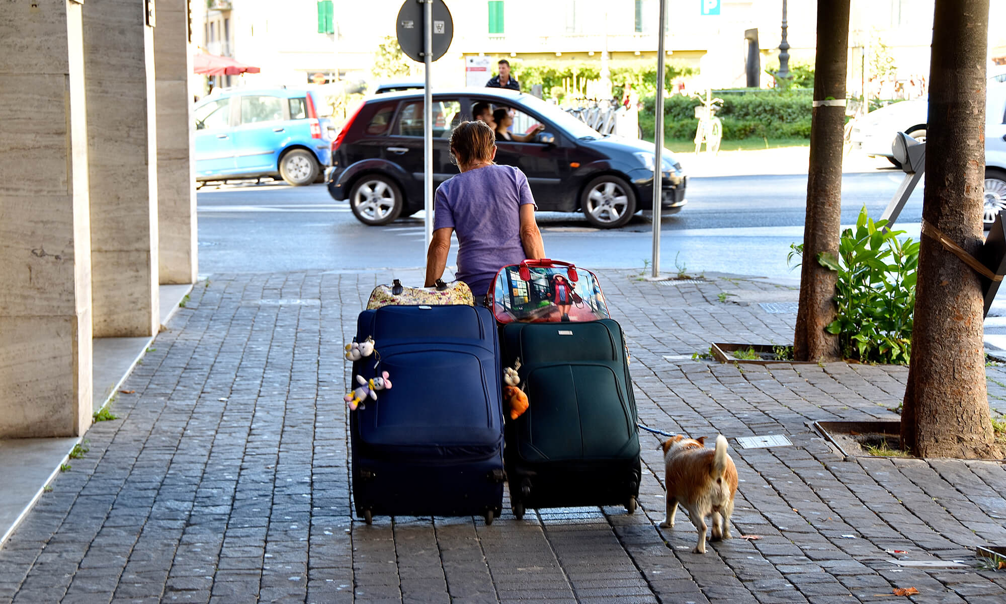 renter moving suitcases
