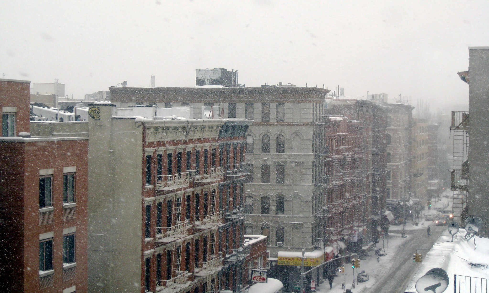 Alphabet city apartment buildings caught in a blizzard