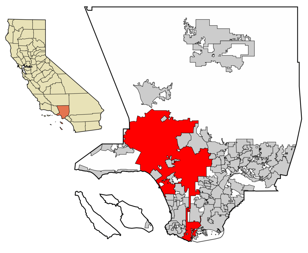 Comparison of size of Los Angeles county to the city