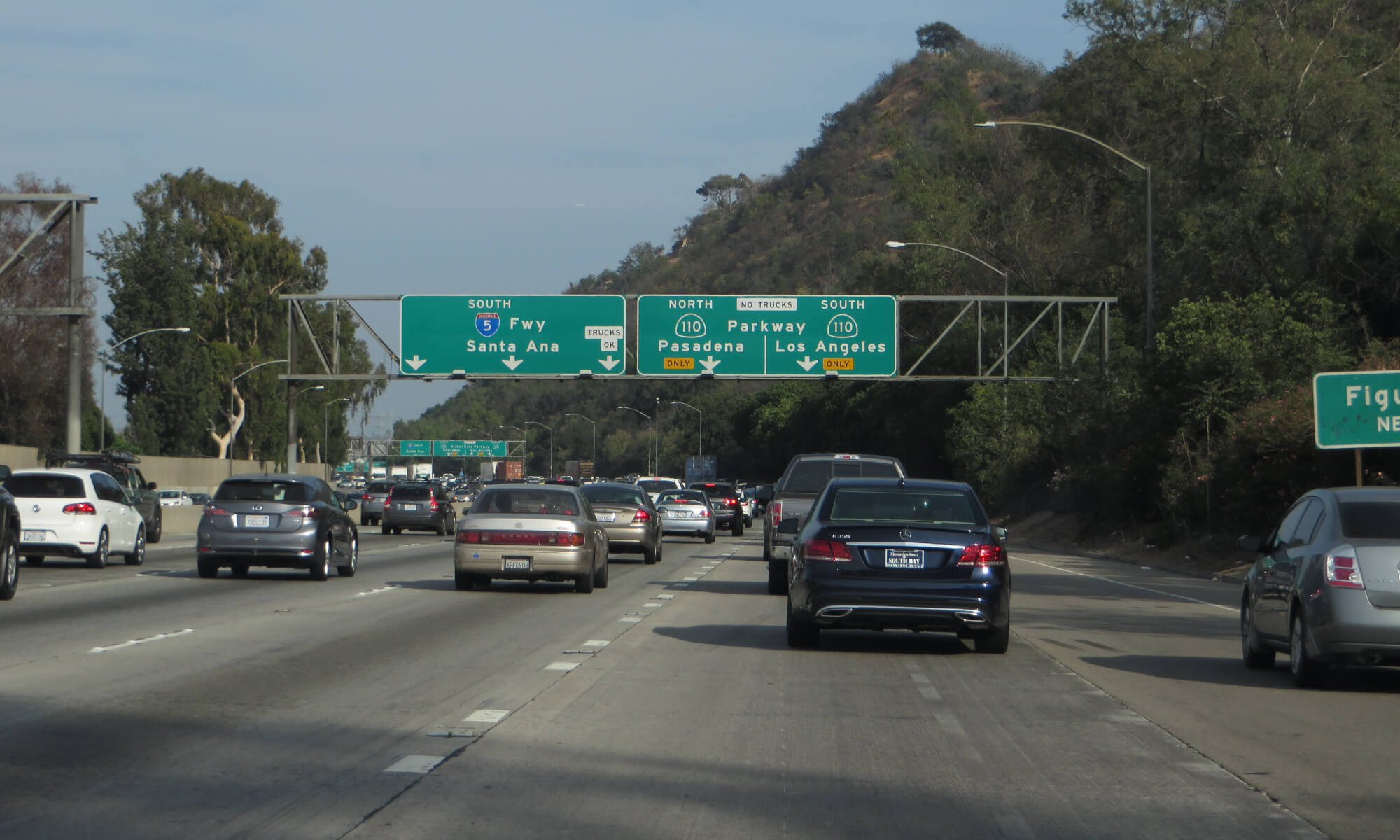 Highway signs for 110 in Los Angeles