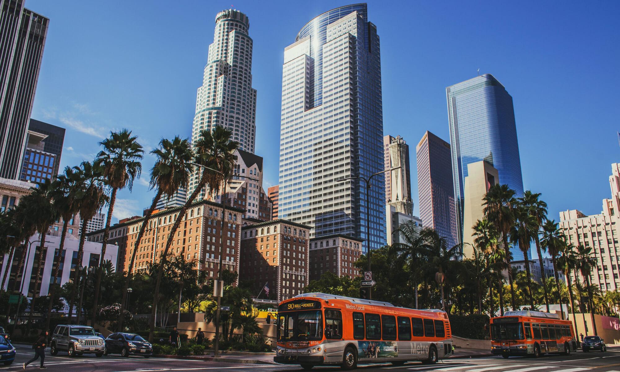 LA Metro bus in downtown LA