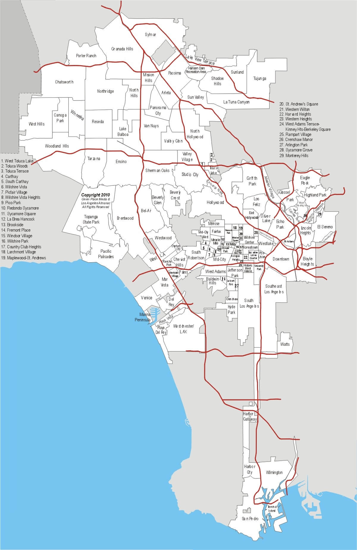 Map of LA neighborhoods