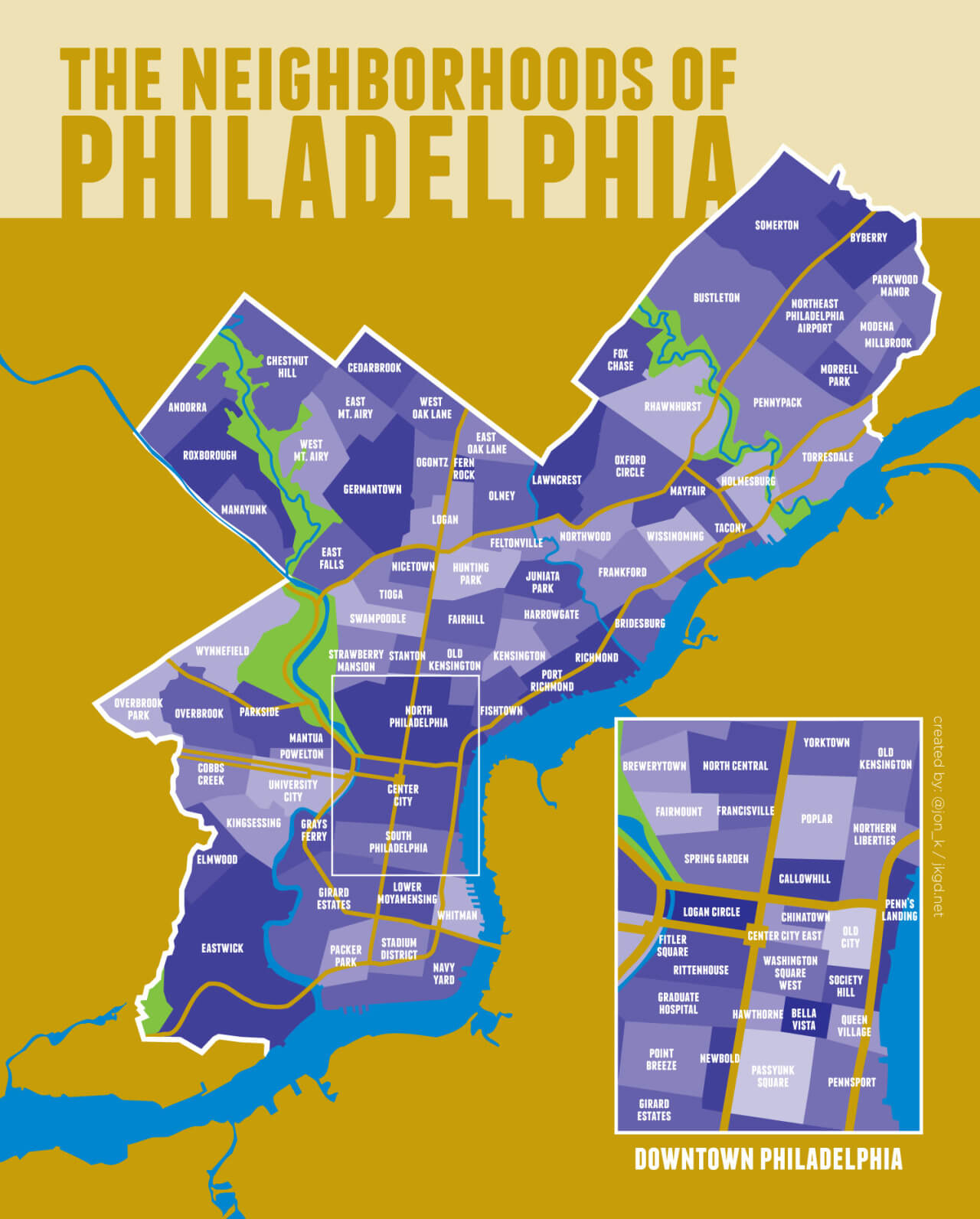 Chart showing neighborhoods of Philadelphia