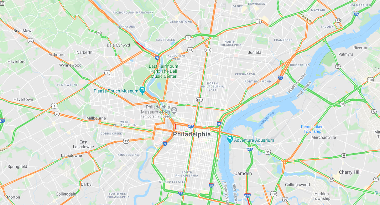 Map of Philadephia highways