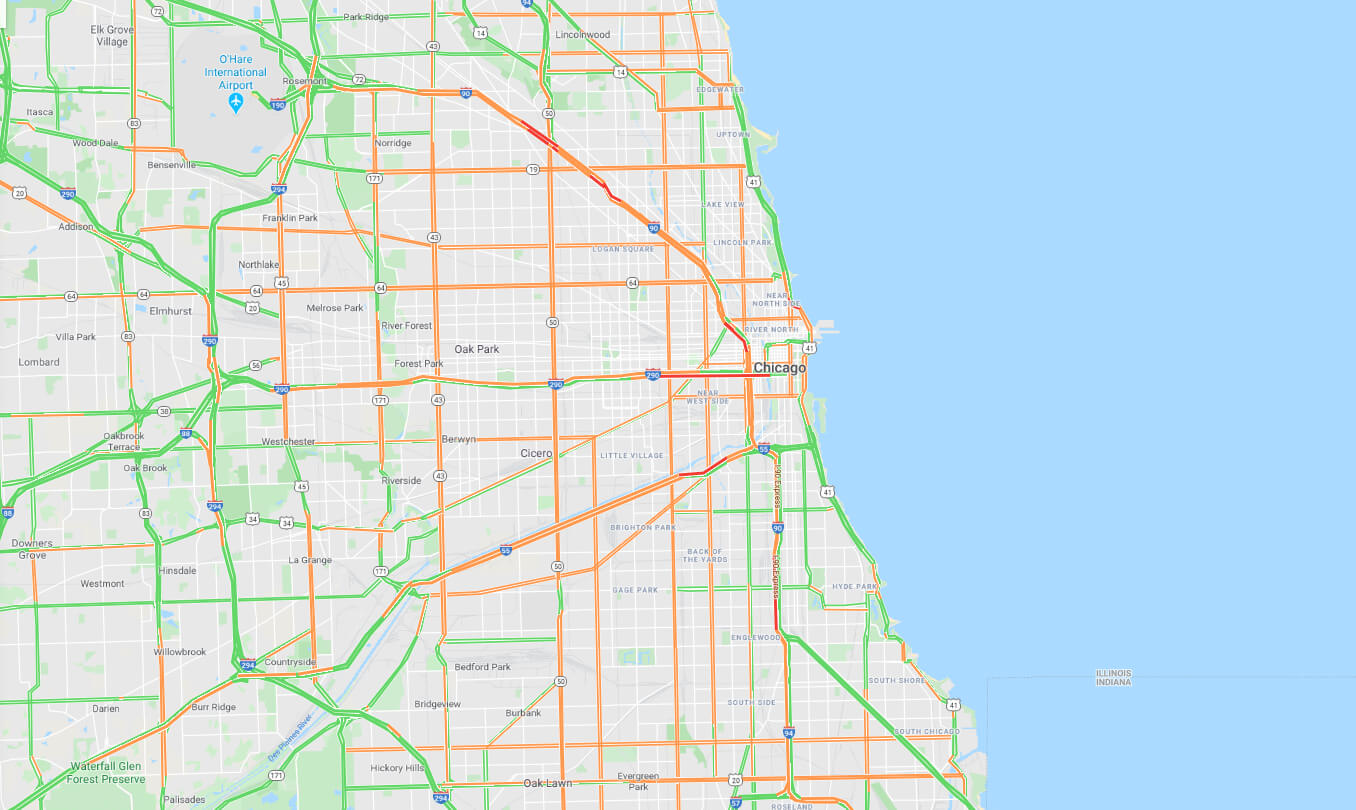 map of chicago streets and traffic