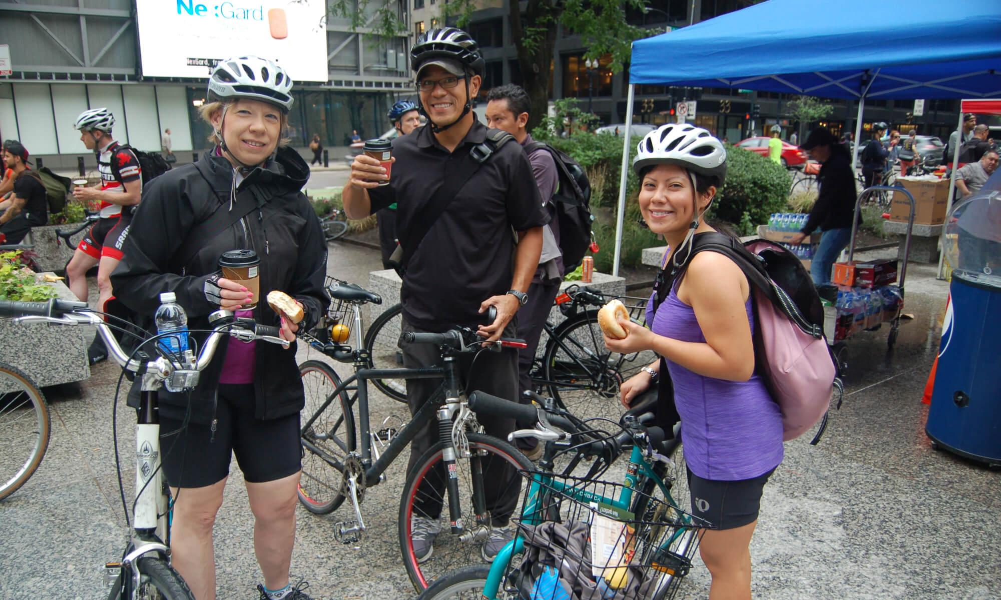 three bikers in chicago