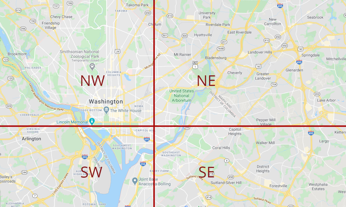Quadrant map of Washington, D.C.