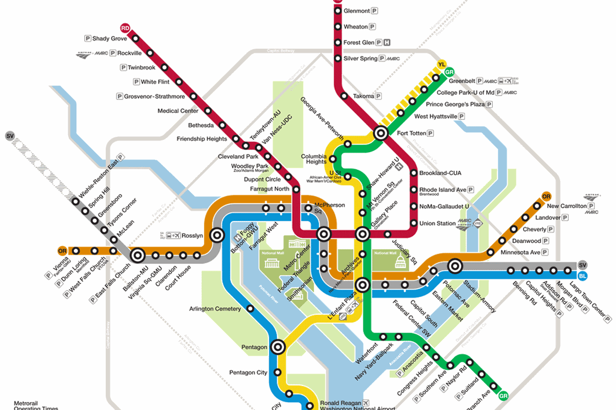 Metro map of washington, D.C
