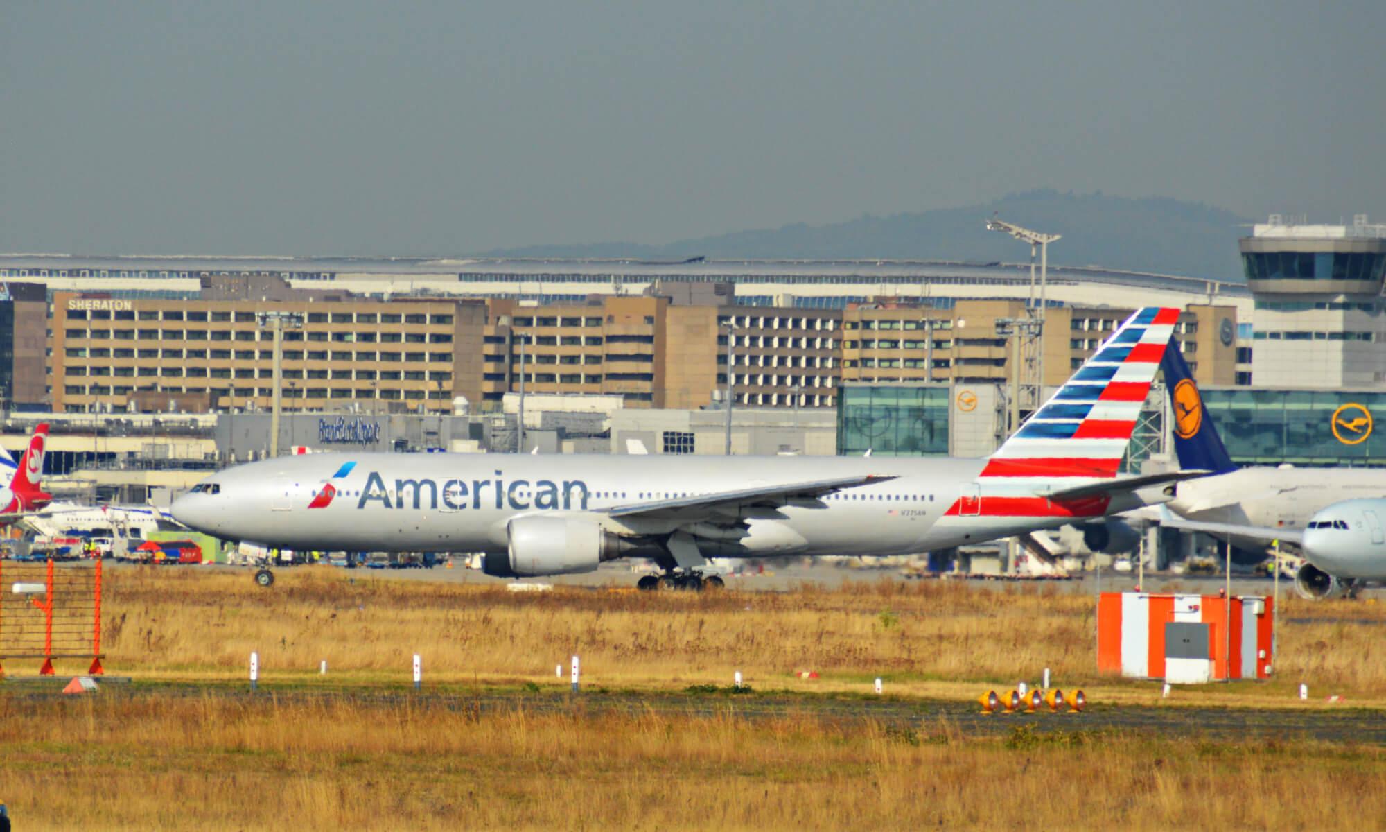 american airlines plane in dallas, texas