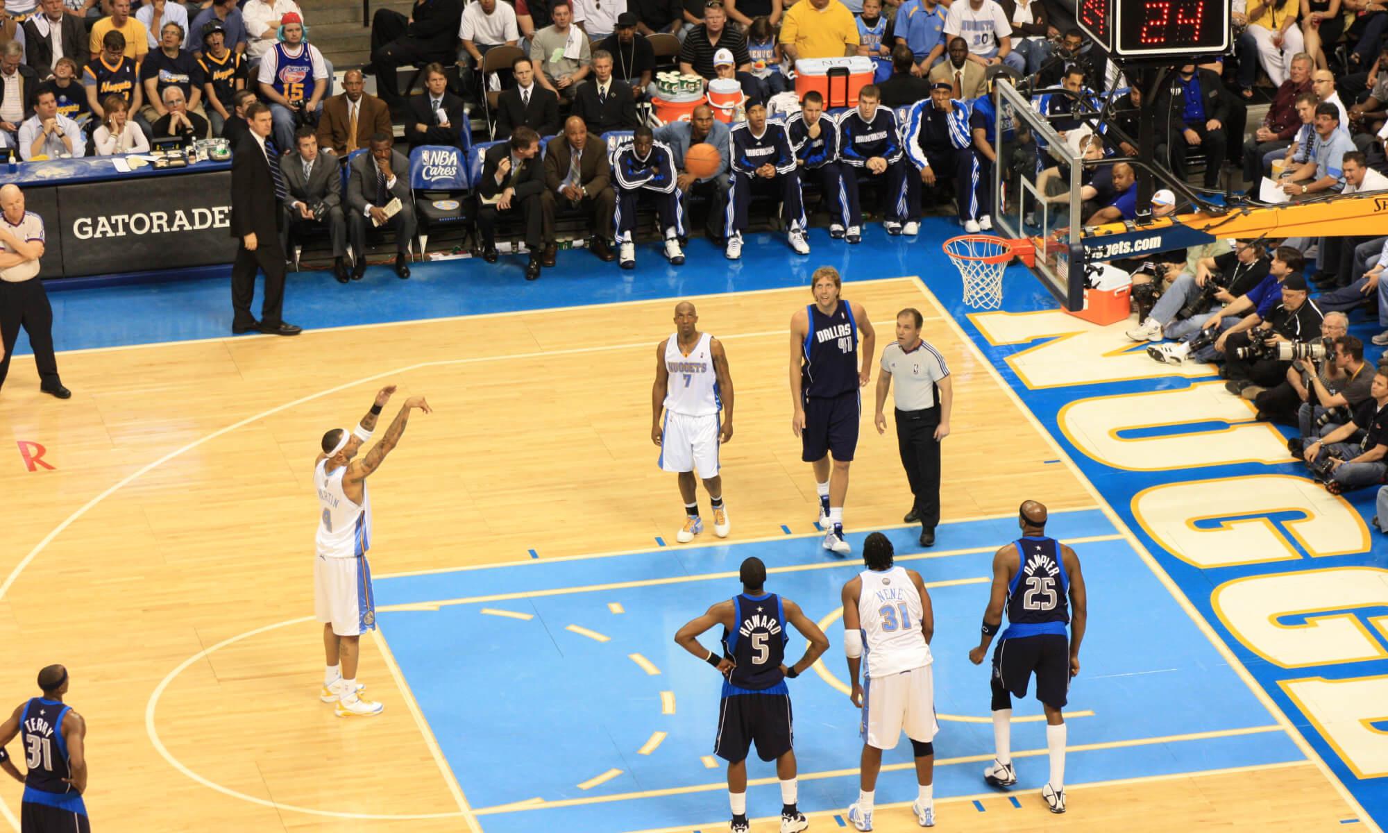 Basketball game in Denver, Colorado