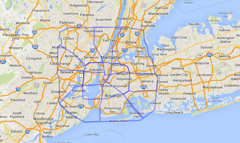 Map comparing Houston, Texas with Manhattan