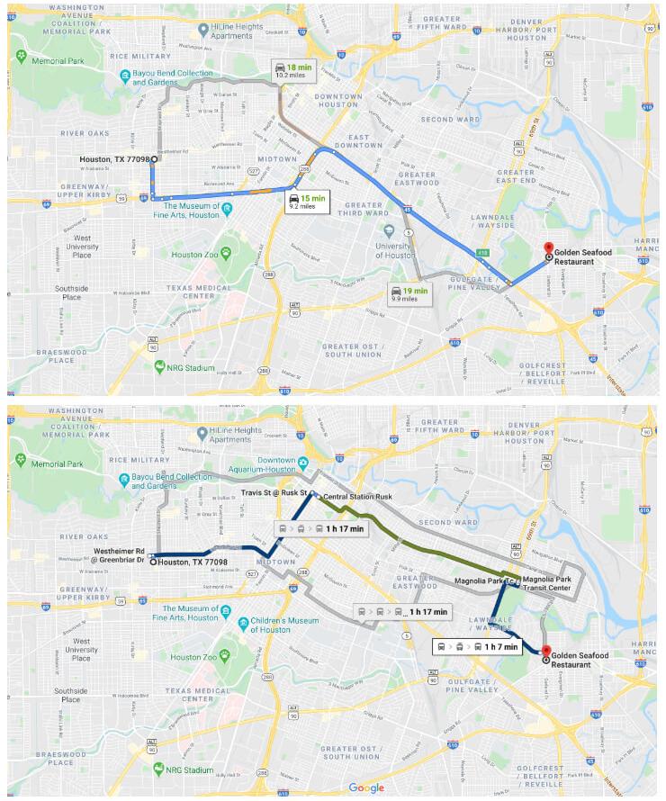 Transit time map of Houston, Texas