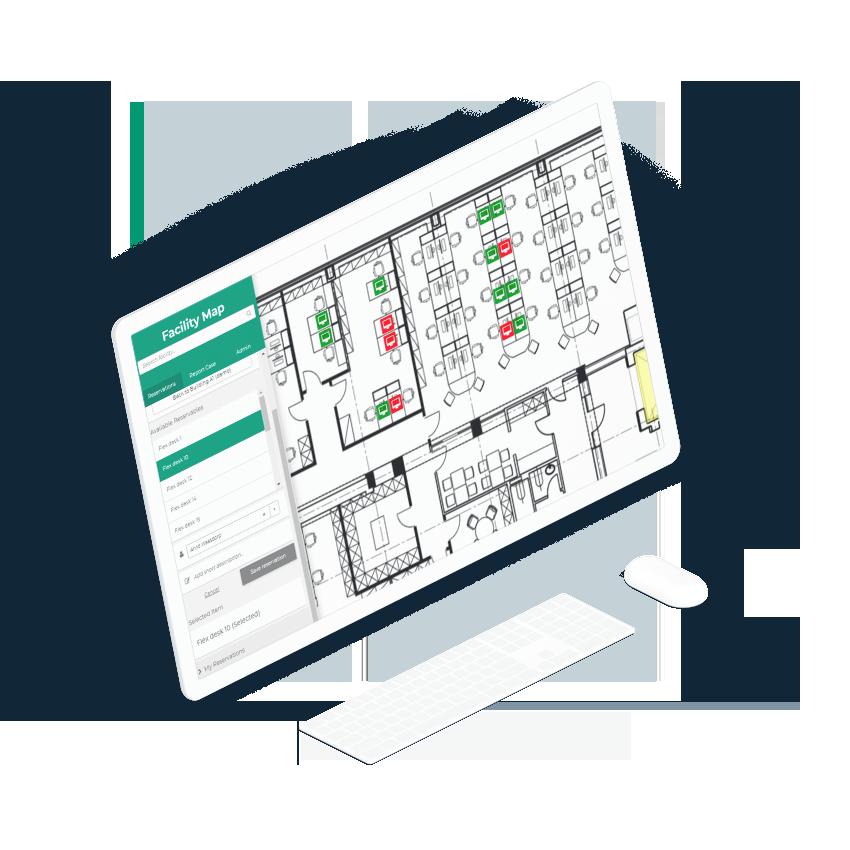 Workspace planning screen laptop interface
